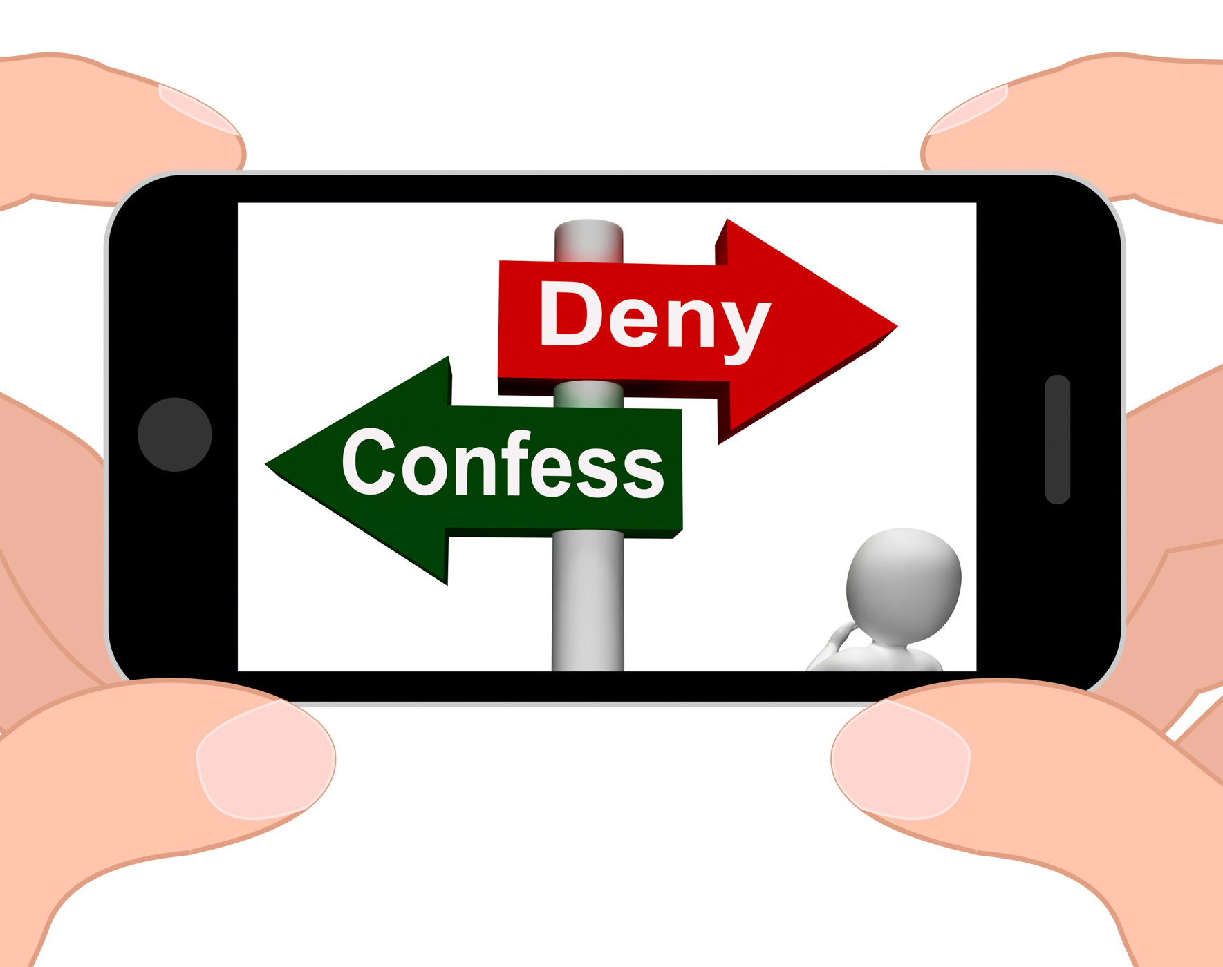 Confess deny signpost displays confessing or denying guilt innocence photo