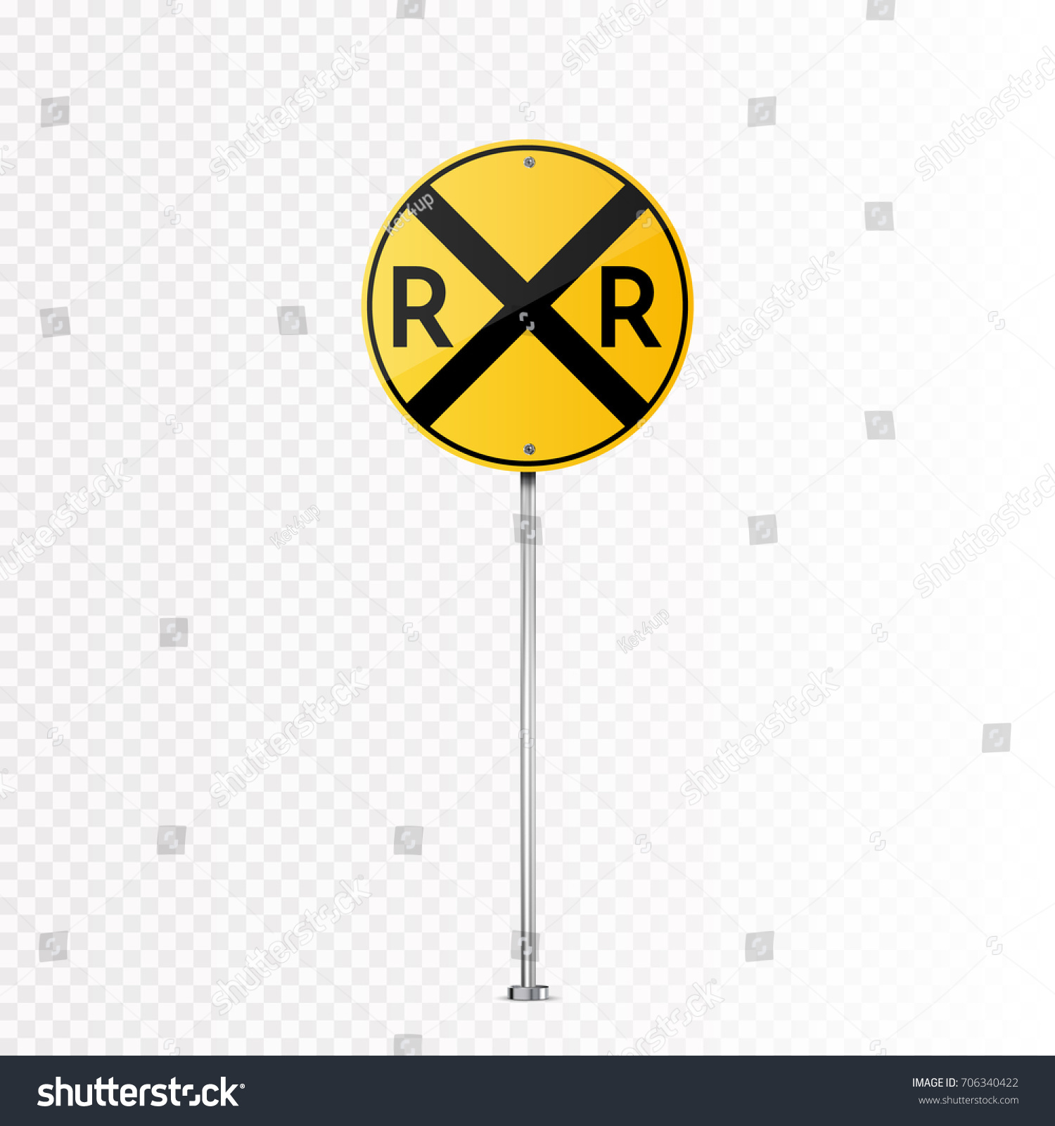 Railroad Vector Crossing Traffic Sign Isolated Stock Photo (Photo ...