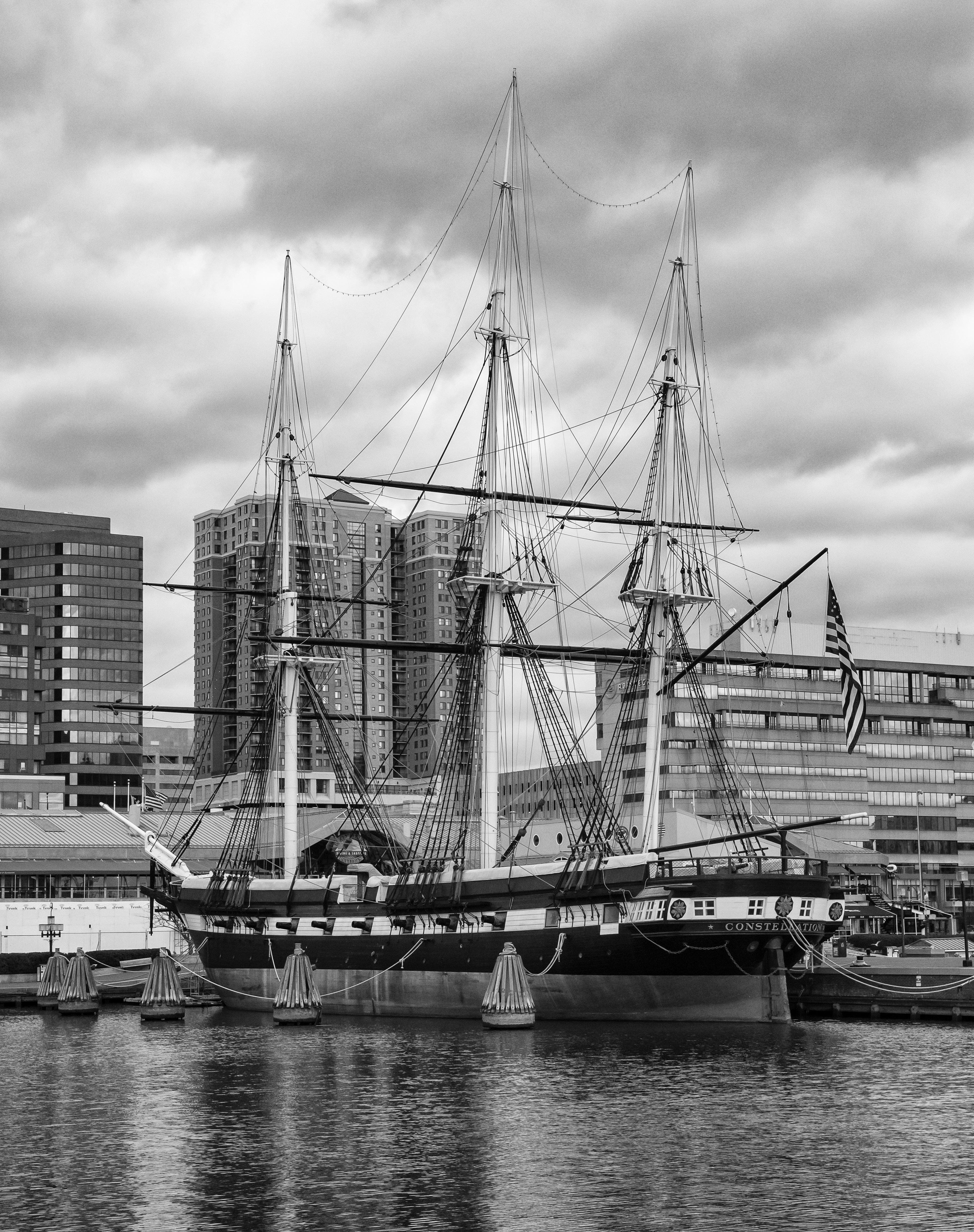 Constellation in Baltimore, Boat, Building, Sea, Ship, HQ Photo