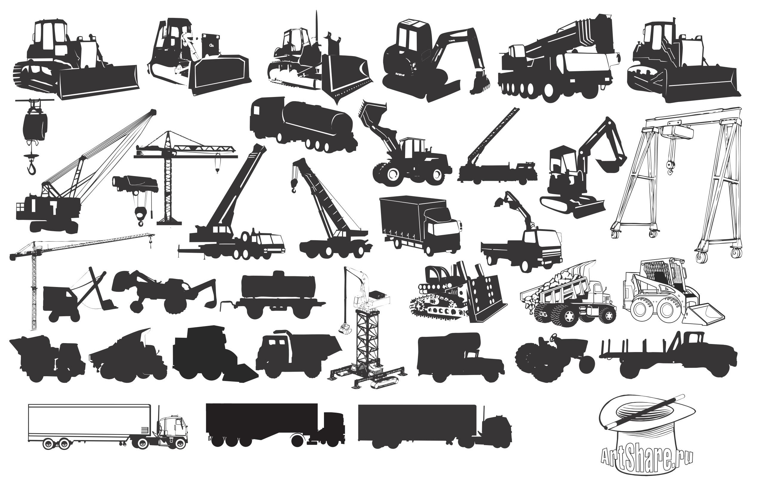 Transport, Construction Silhouette Vector EPS Free Download, Logo ...