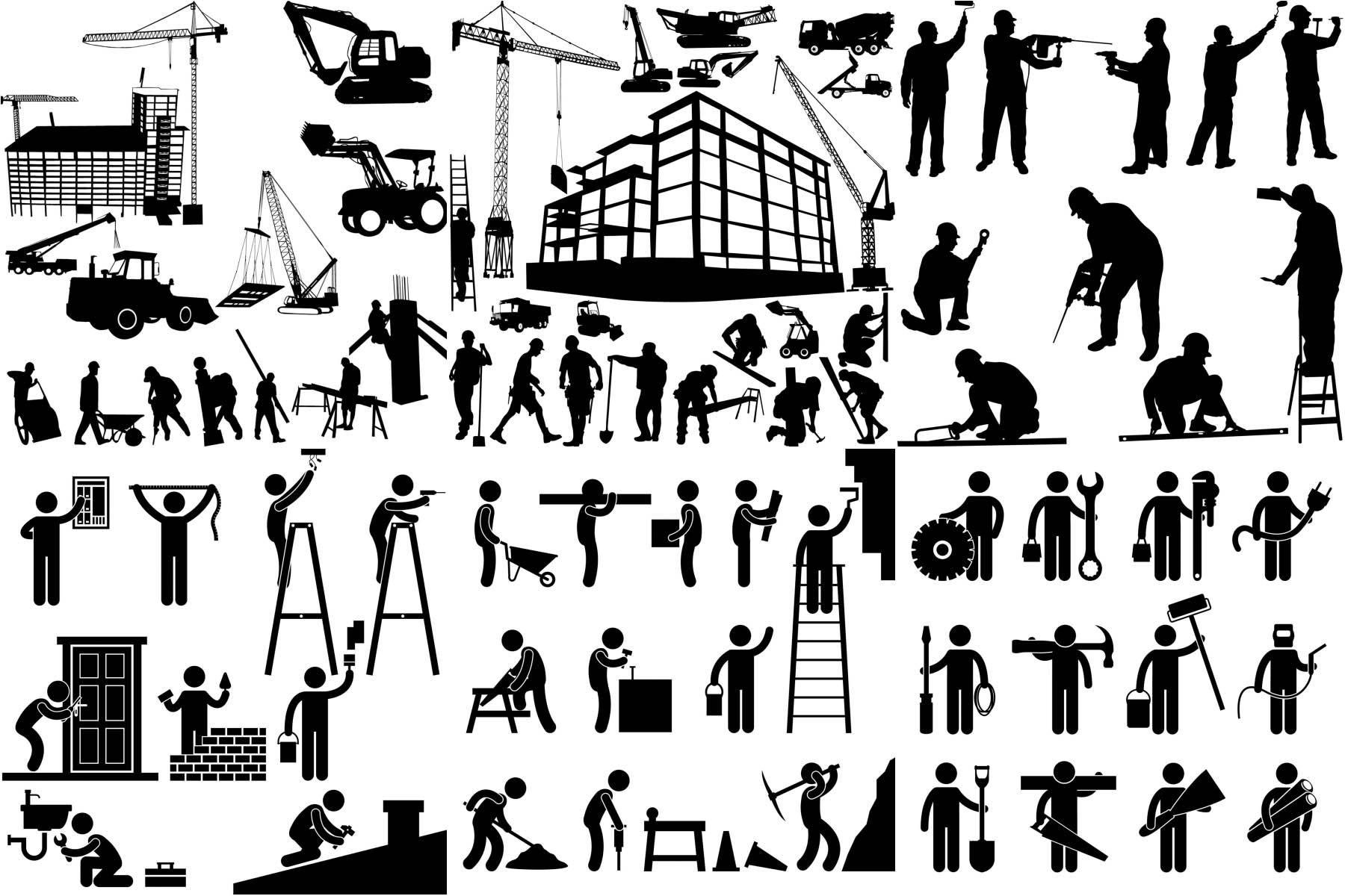 Worker silhouette, building and construction equipment vector free ...