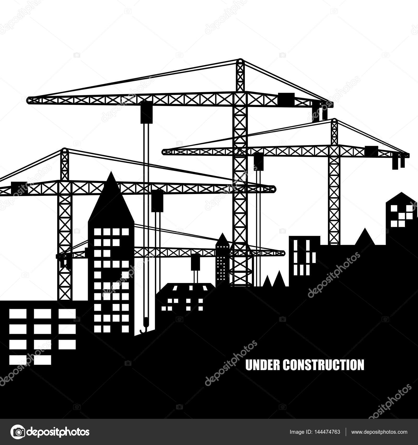 Buildings of the City. Under Construction. Silhouette — Stock Vector ...
