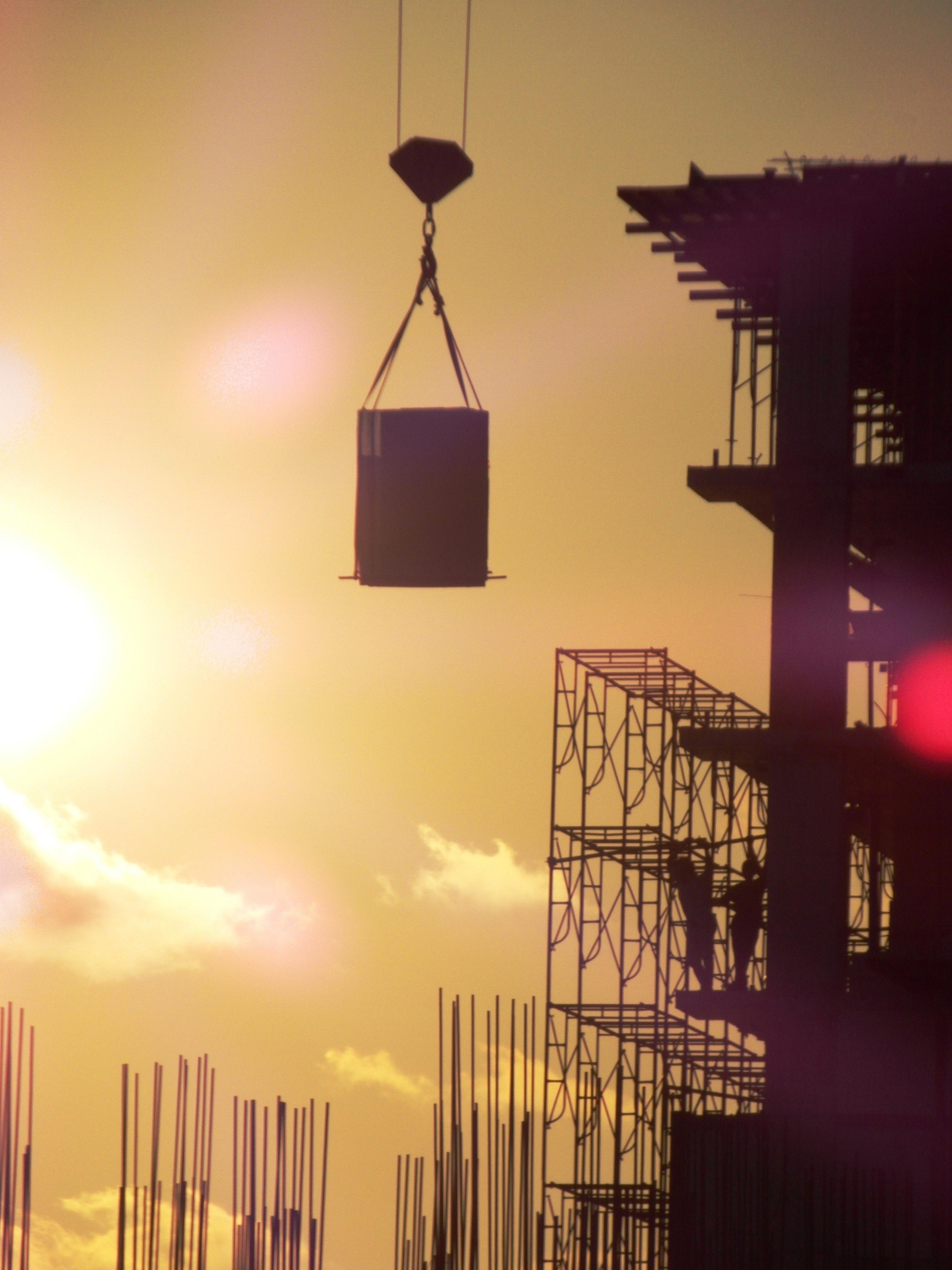 Construction Silhouette, Activity, Site, Large, Lift, HQ Photo