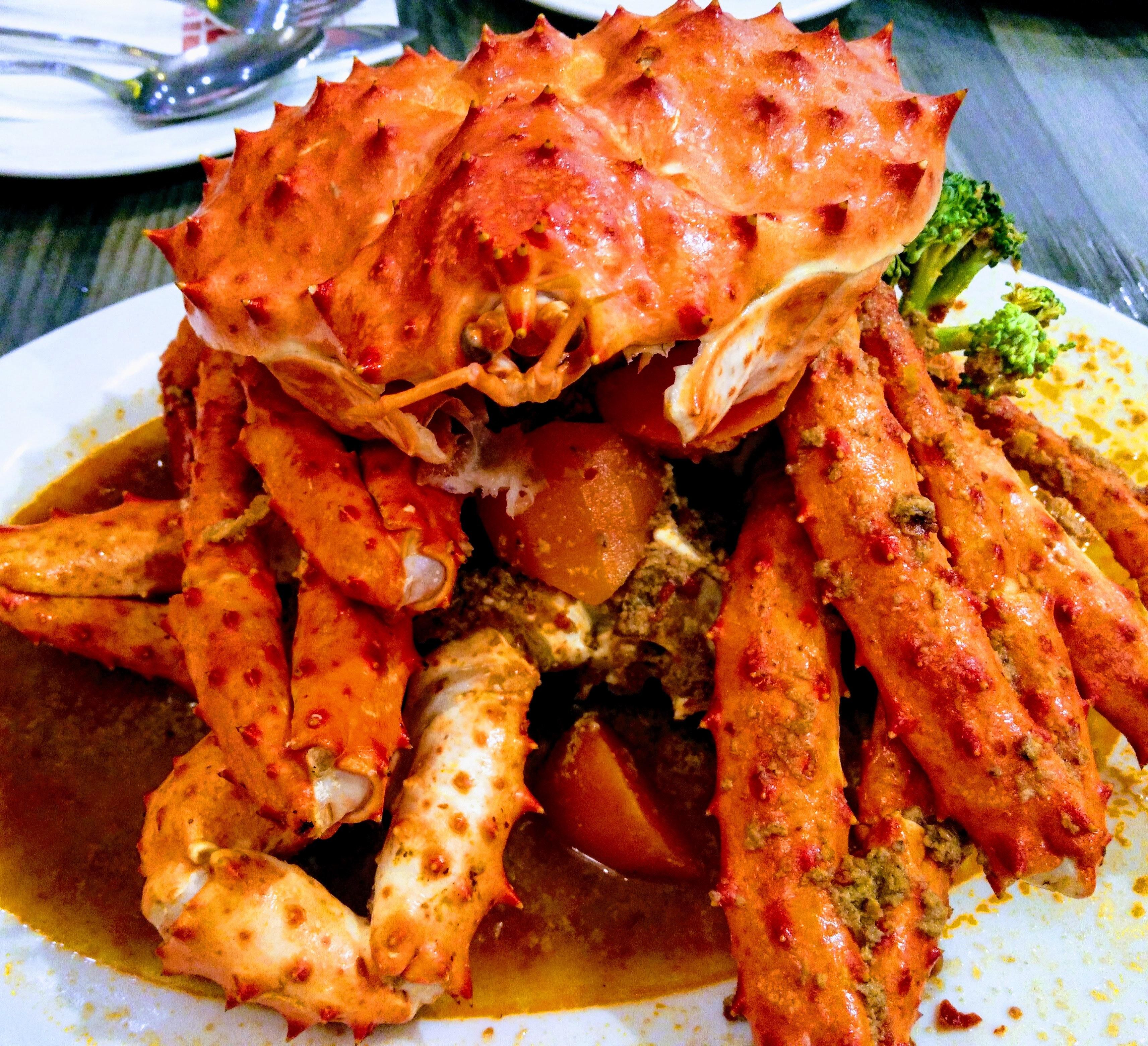 Cooked crab on white ceramic palte photo