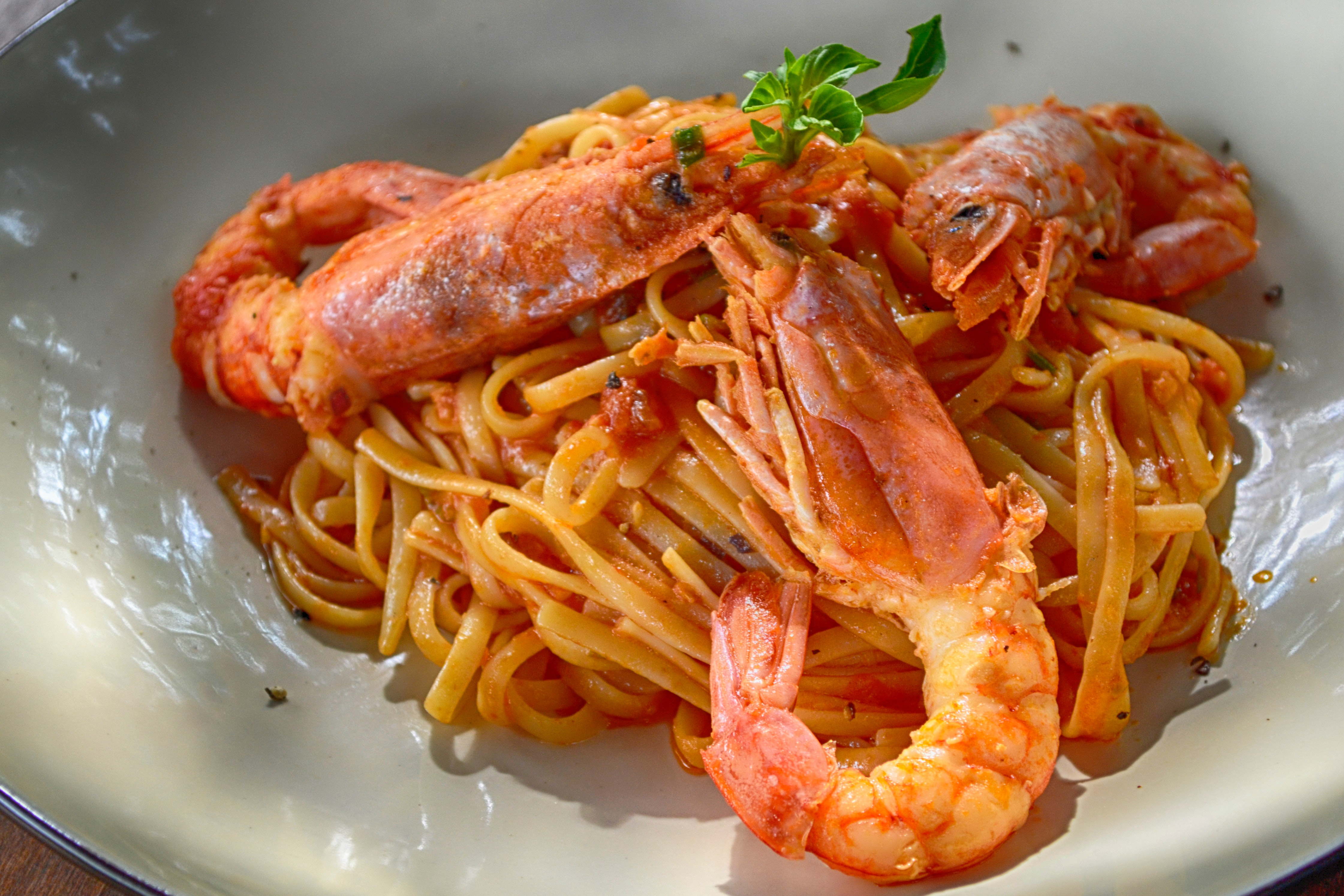 Cooked Shrimp With Noodles, Basil, Meal, Spaghetti, Shrimp, HQ Photo
