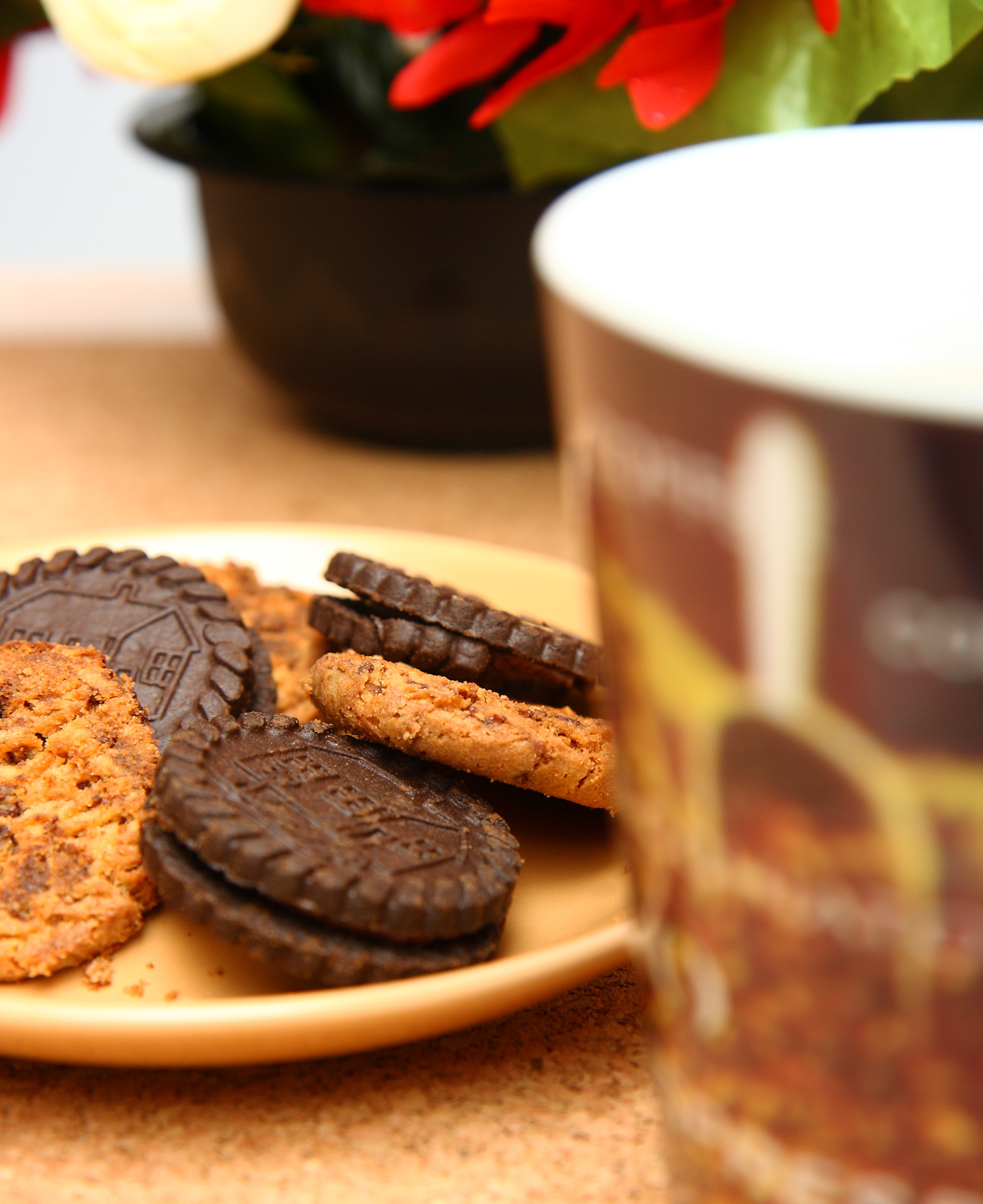 Cookies and coffee as a morning break photo