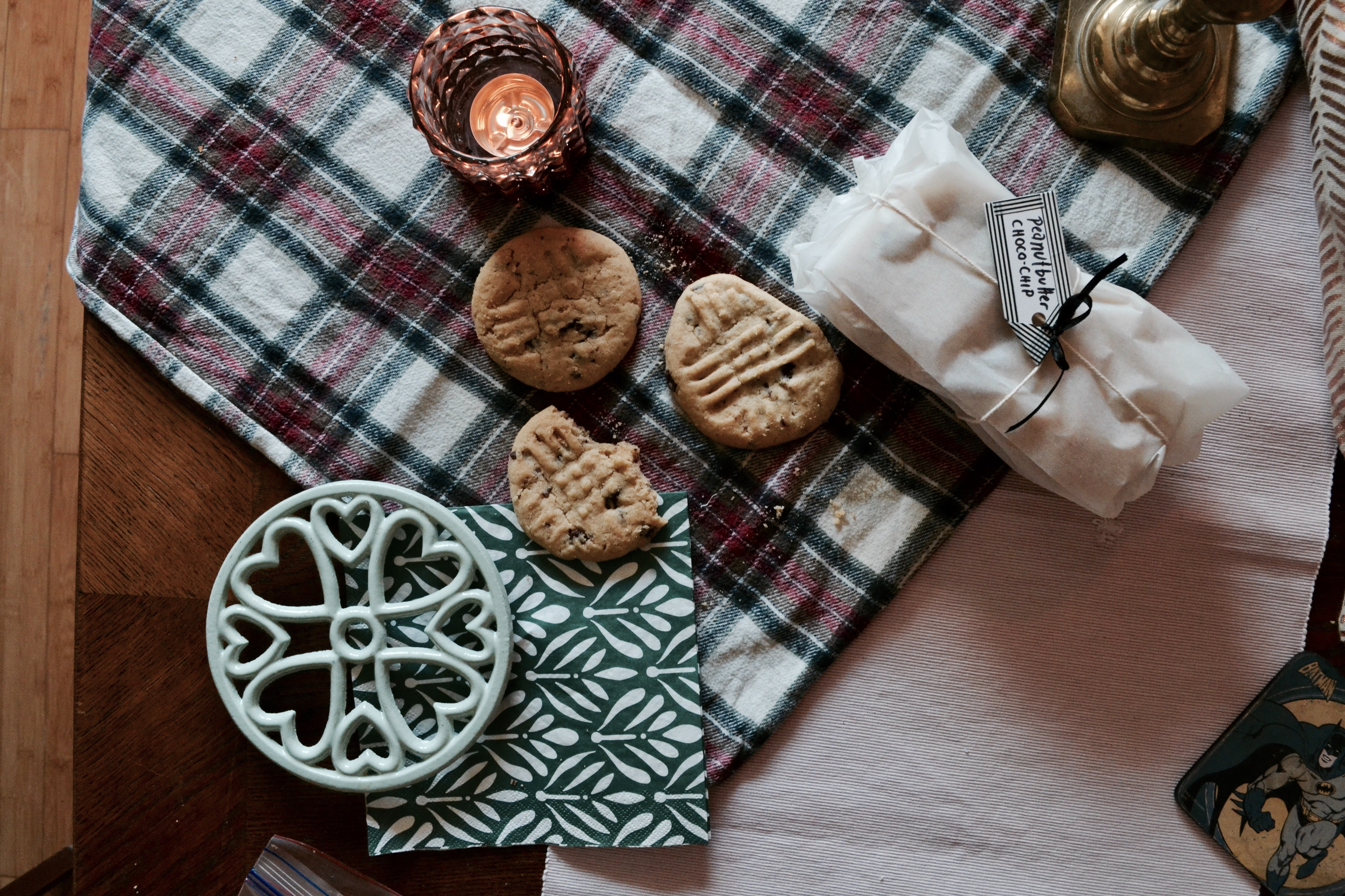 Cookies on a plaid mat photo