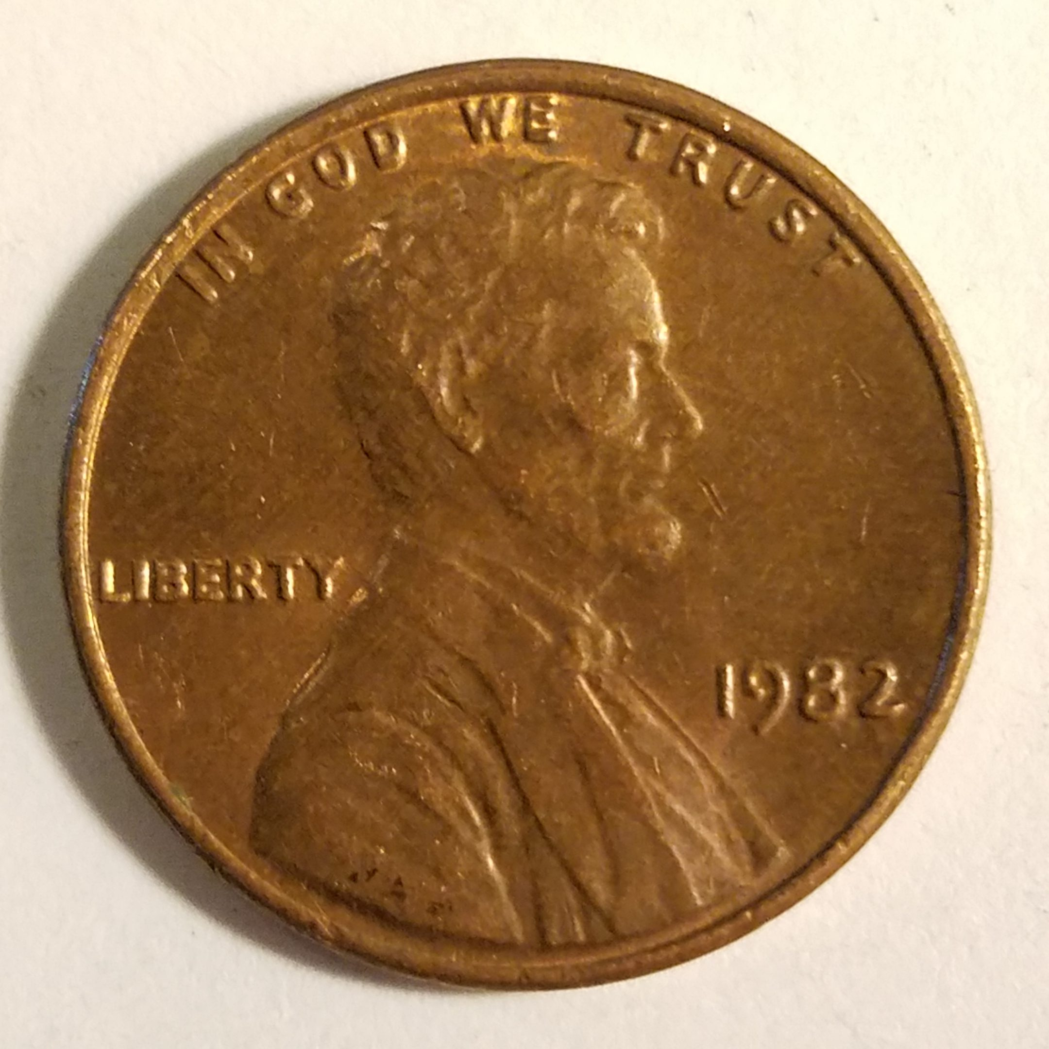 1982 Lincoln Cent with Machine Doubling and Die Crack - The Coin Bag