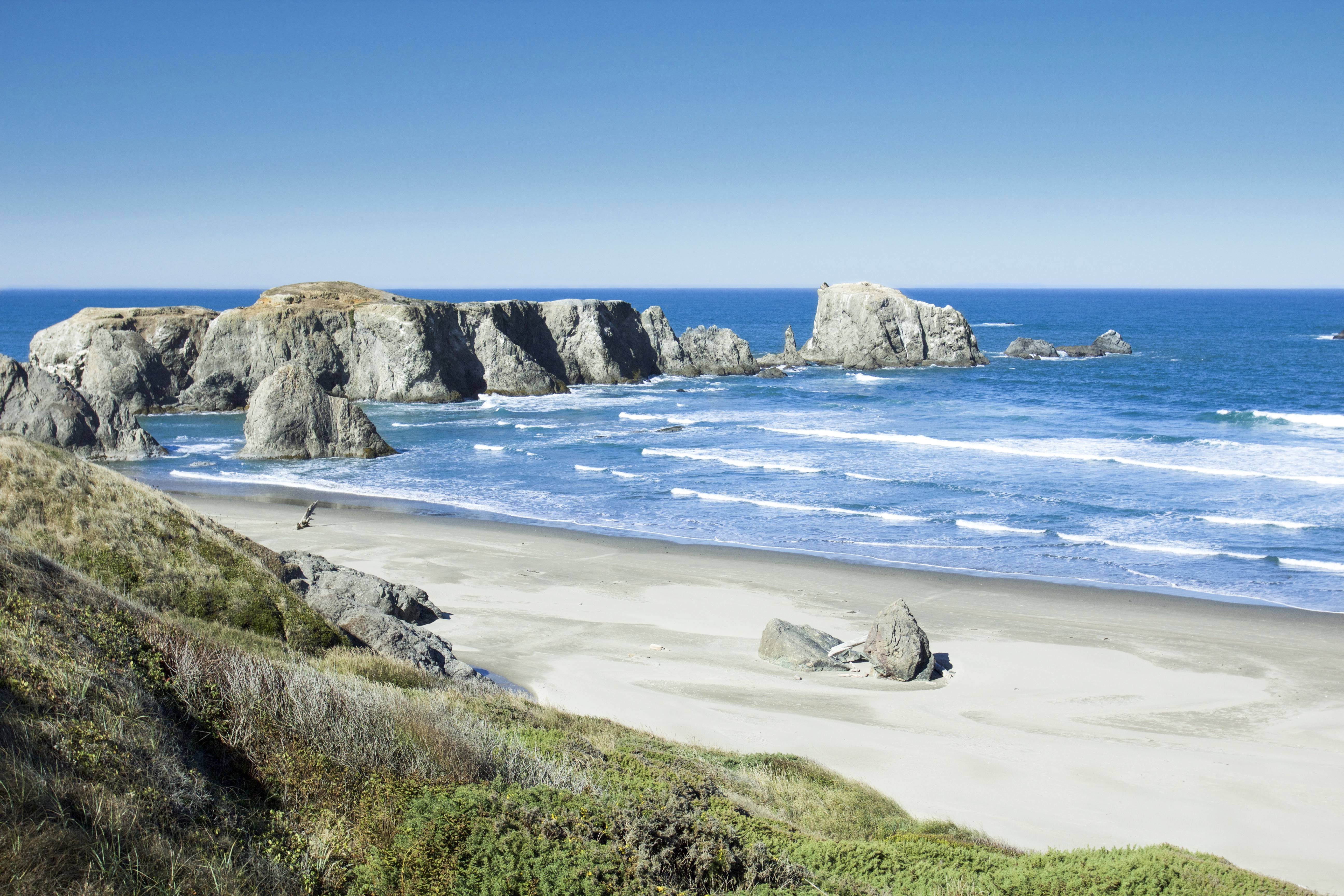 Coquille Point Oregon, Rocks, Sand, Sea, Waves, HQ Photo