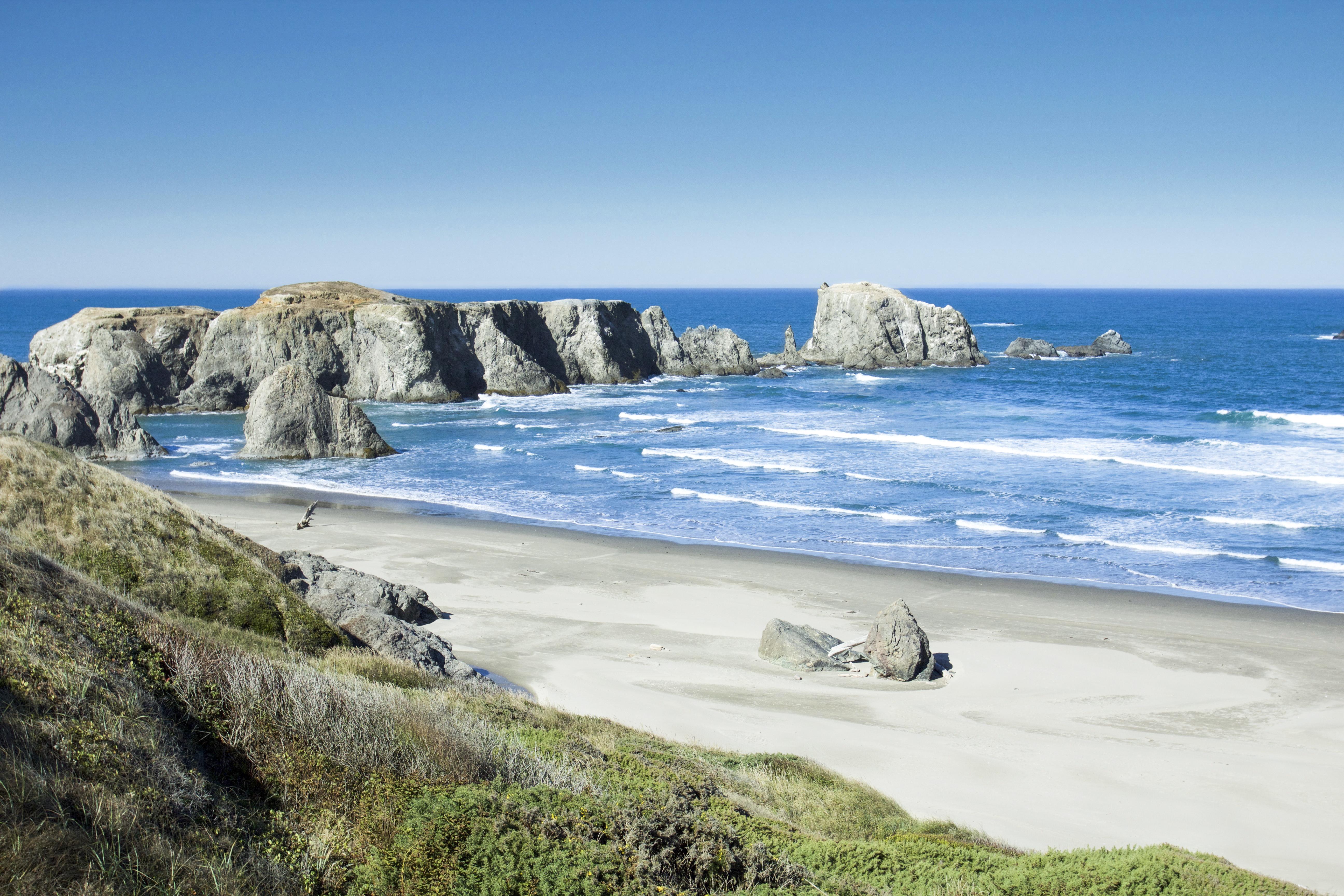 Coquille Point Oregon, Beach, Blue, Coast, Ocean, HQ Photo