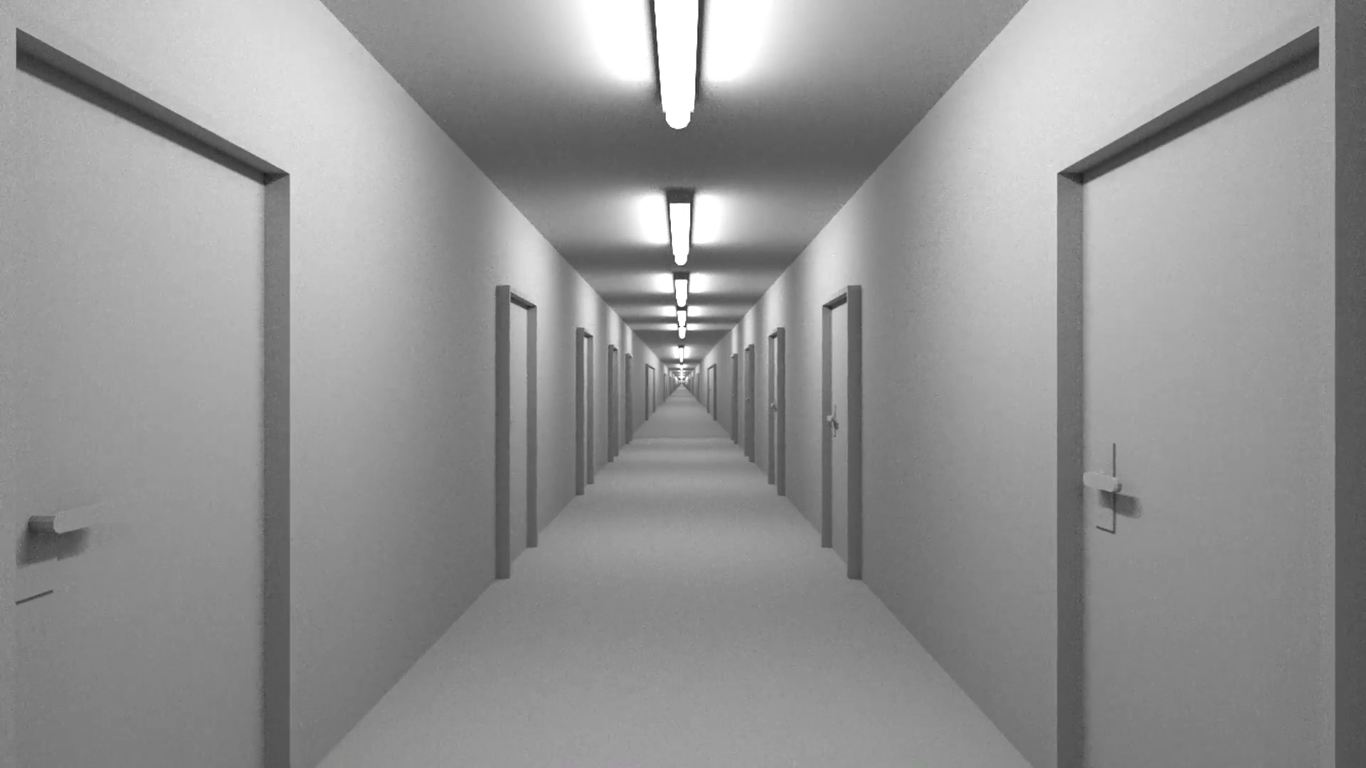 Endless white corridor with doors seamless loop 4K Motion Background ...