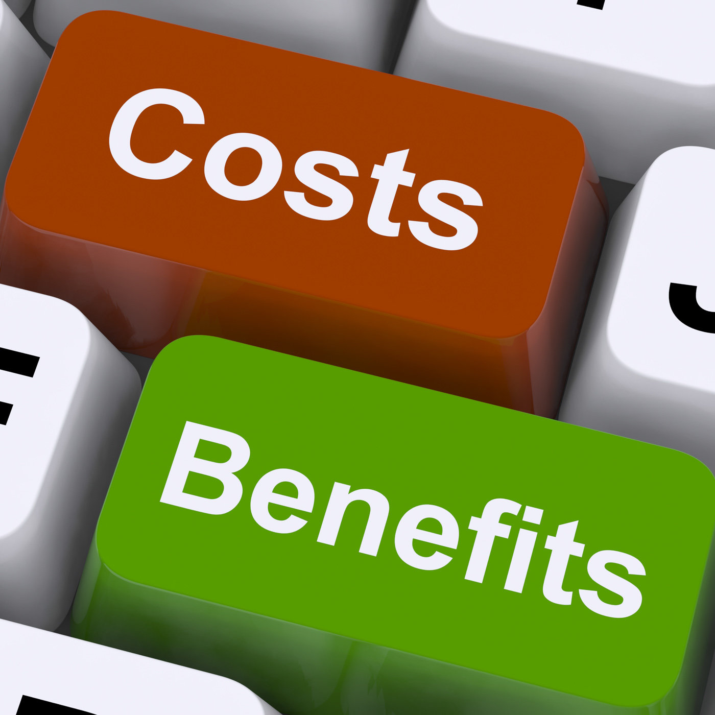Costs benefits keys showing analysis and value of an investment photo