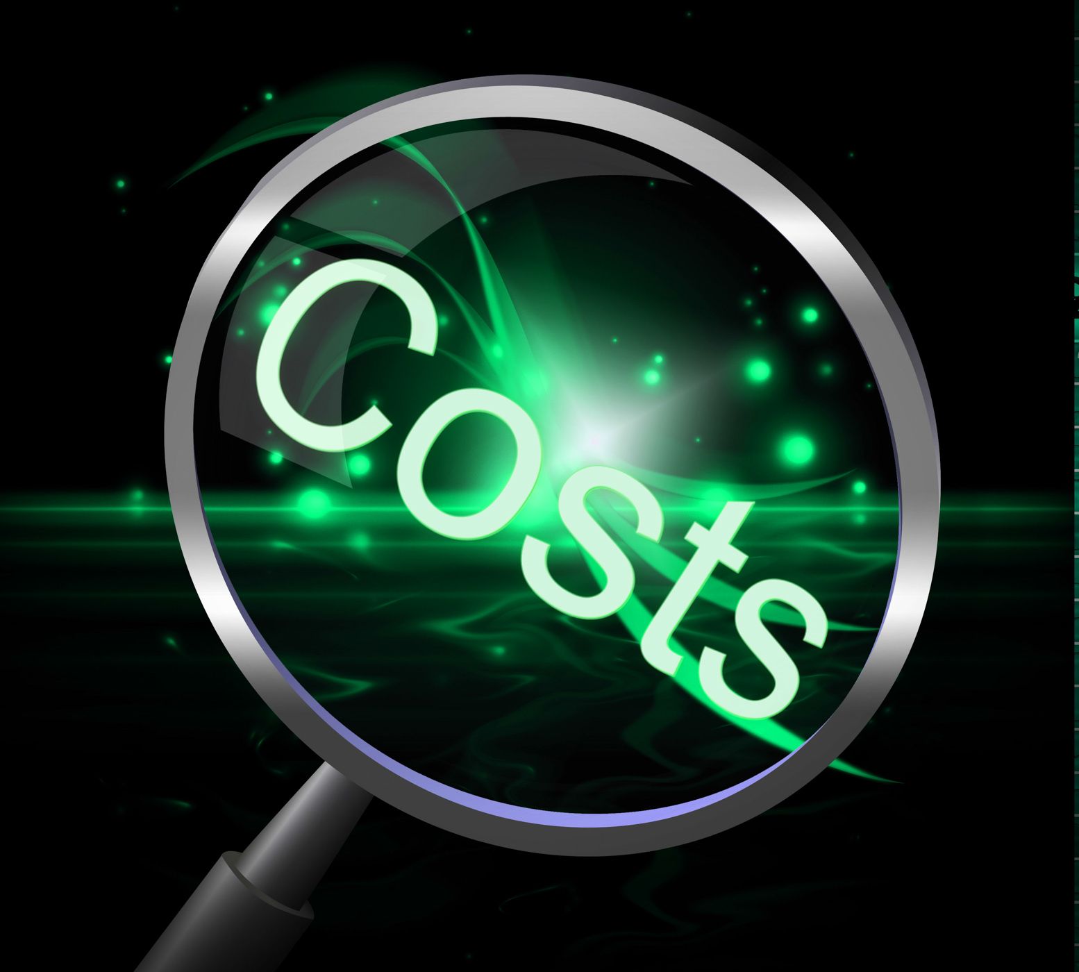 Costs magnifier represents magnification price and expenditure photo