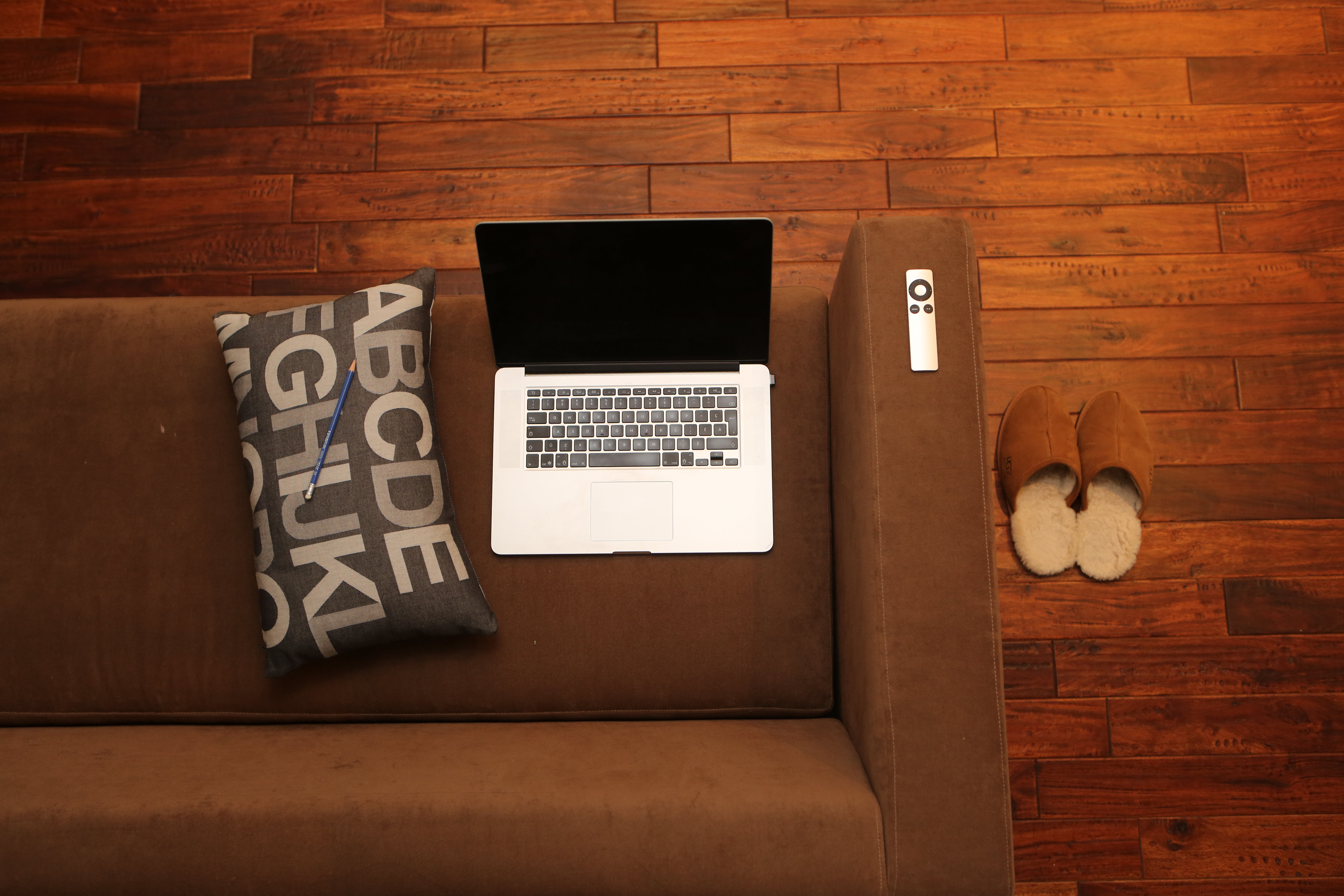 Couch On Wooden Floor, Computer, Couch, Floor, Laptop, HQ Photo