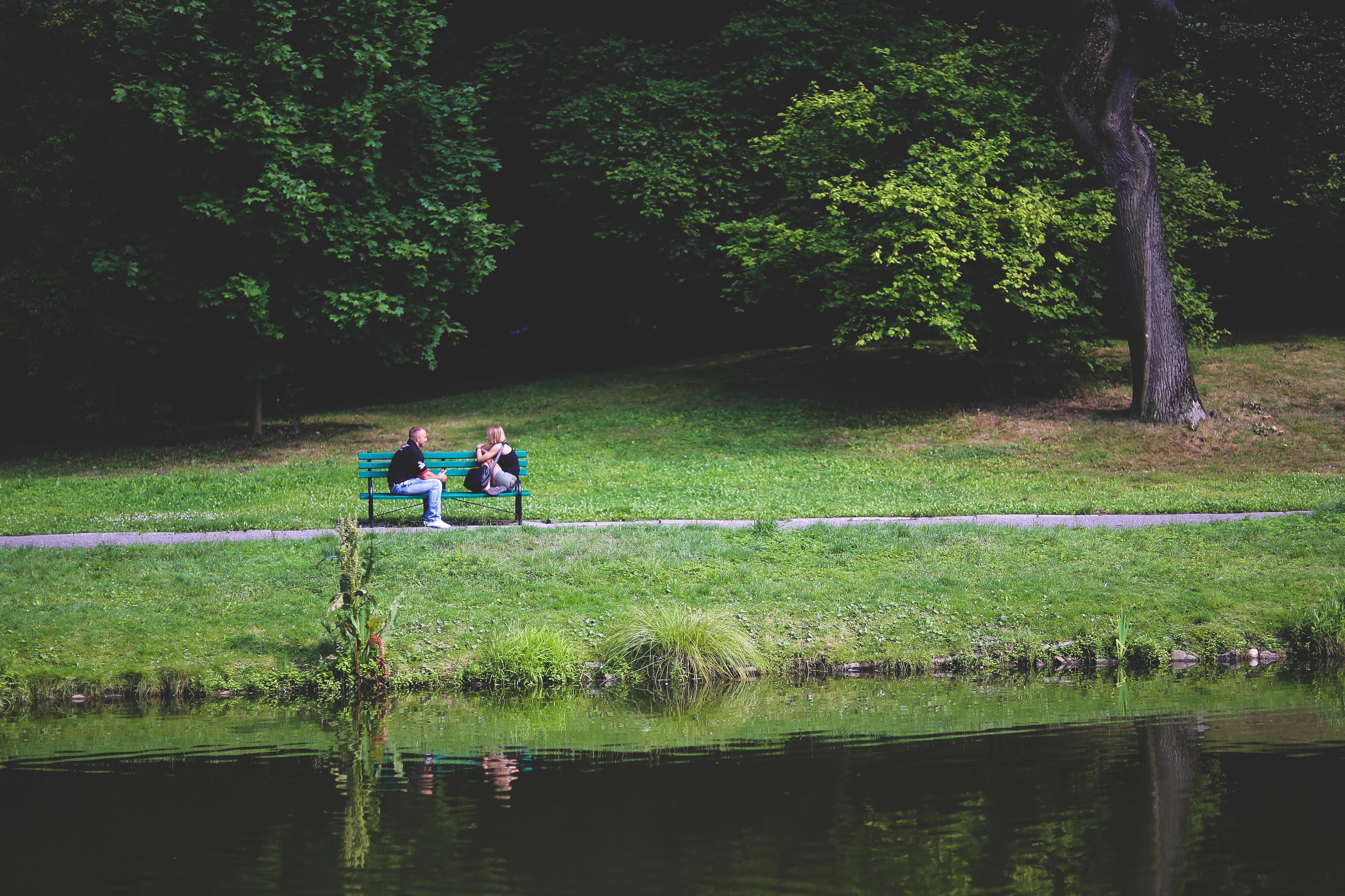 Couple on bench photo