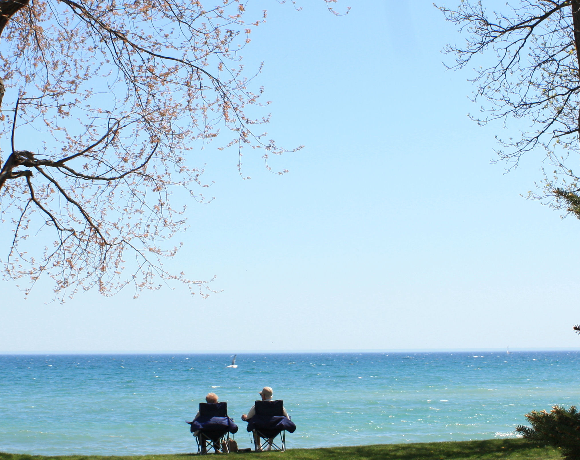 Couple sitting at Lake Ontario, Oshawa, Couple, Enjoying, Lake, Landscape, HQ Photo