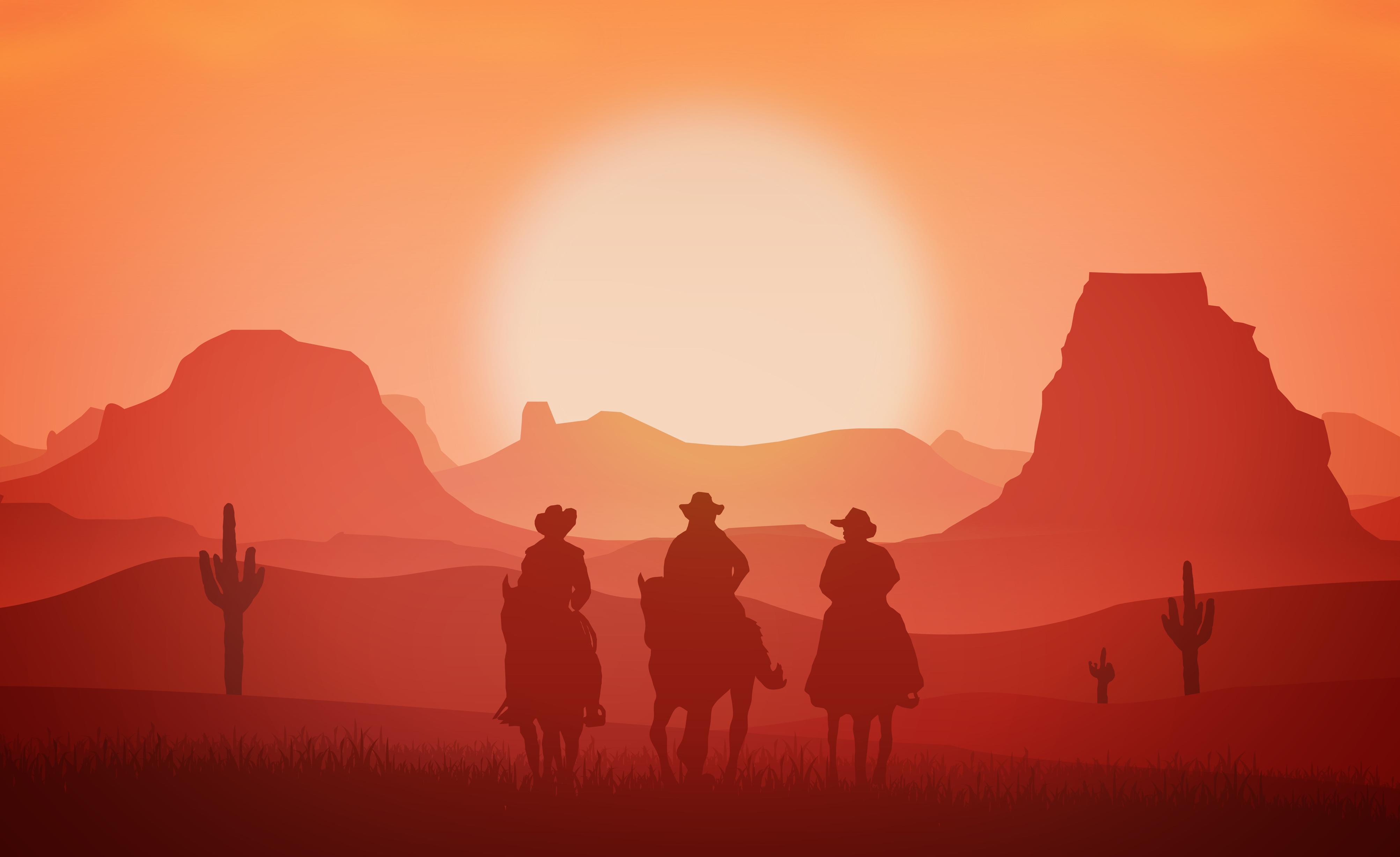 Cowboys riding horses at sunset photo