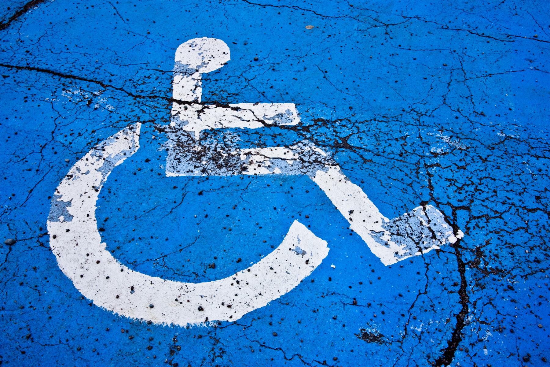 Cracked handicap sign photo