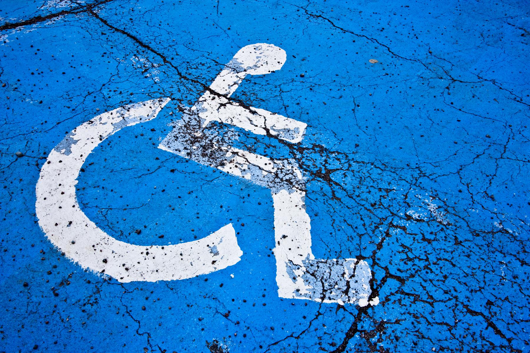 Cracked Handicap Sign, Asphalt, Space, Photograph, Pictogram, HQ Photo