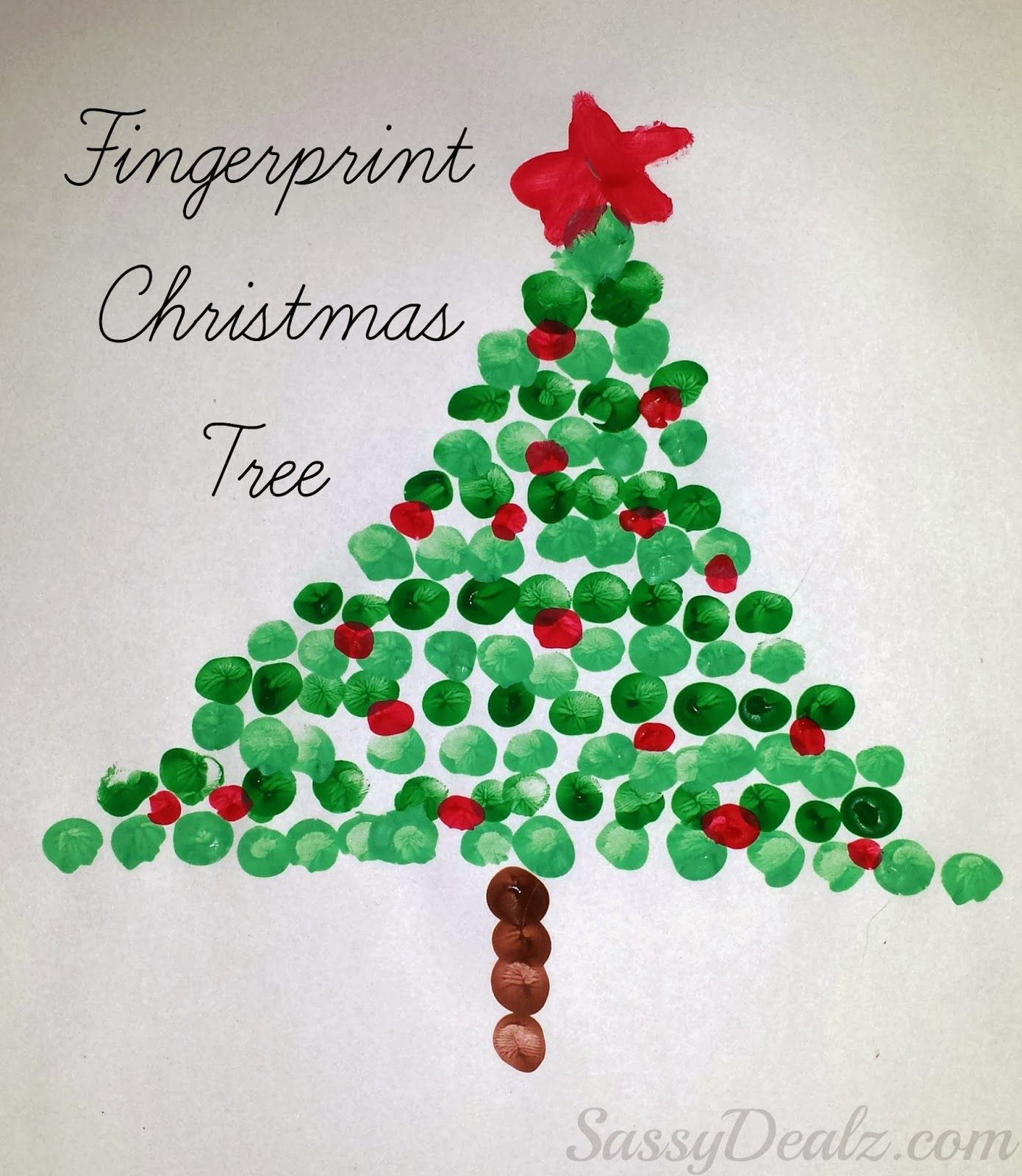 christmas crafts for kids | Fingerprint Christmas Tree Craft For ...