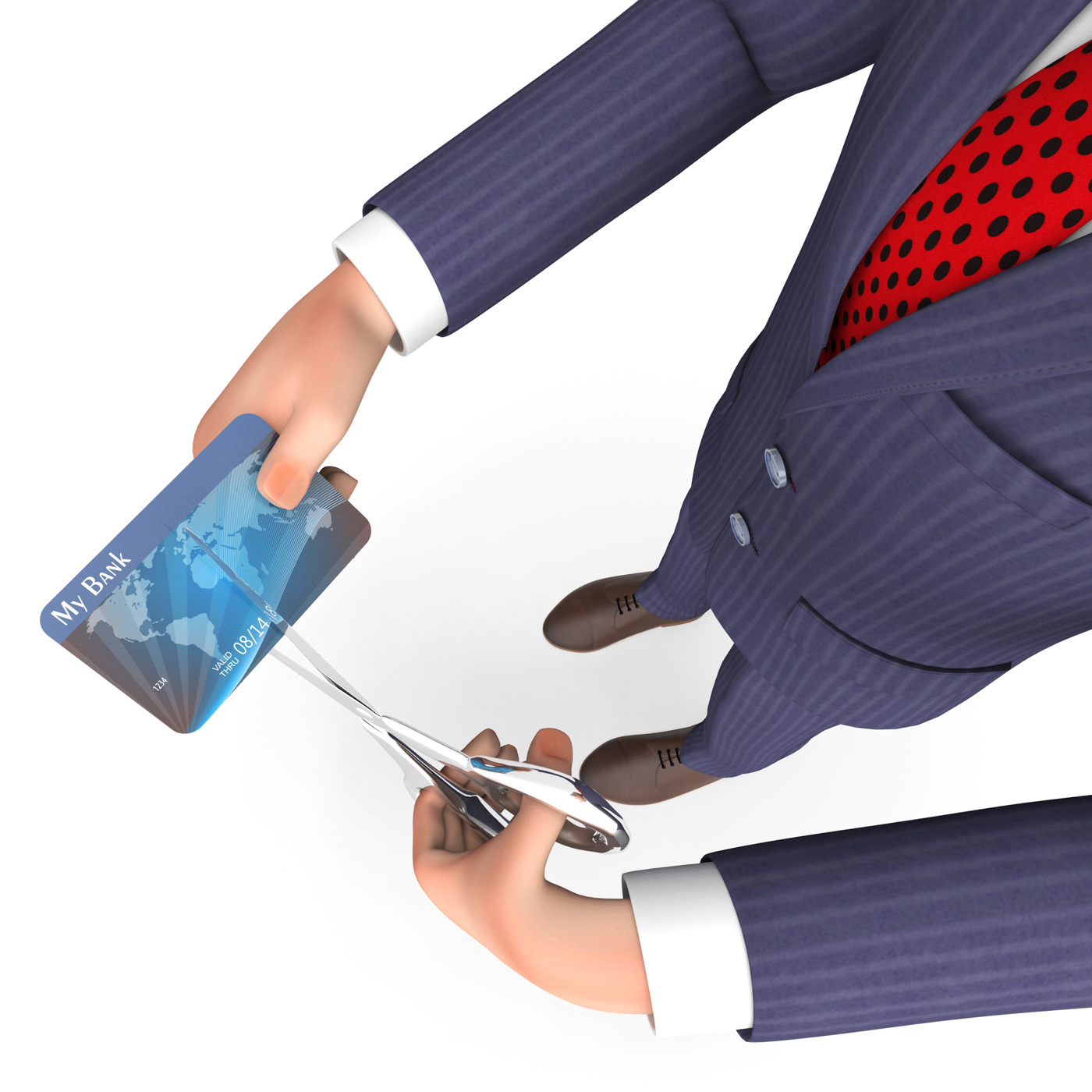 Credit card indicates business person and bought 3d rendering photo