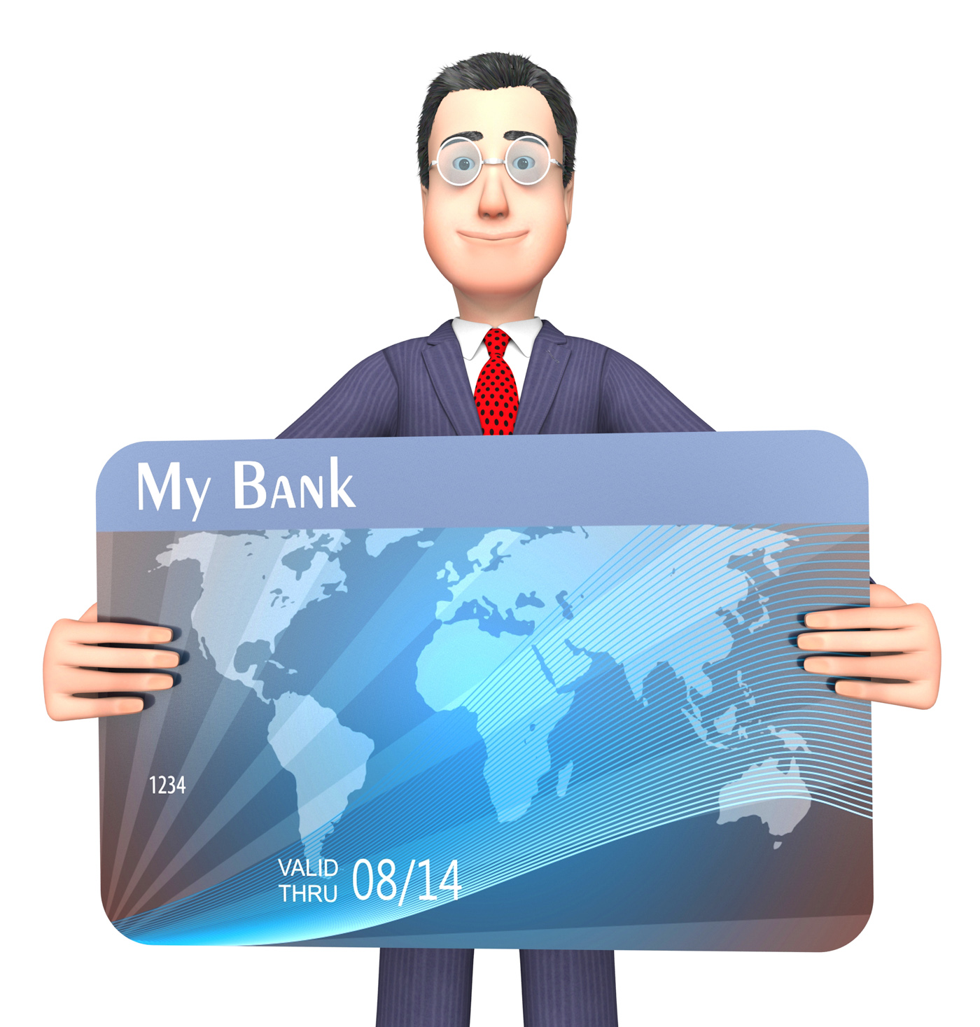 Credit card represents business person and bankrupt 3d rendering photo