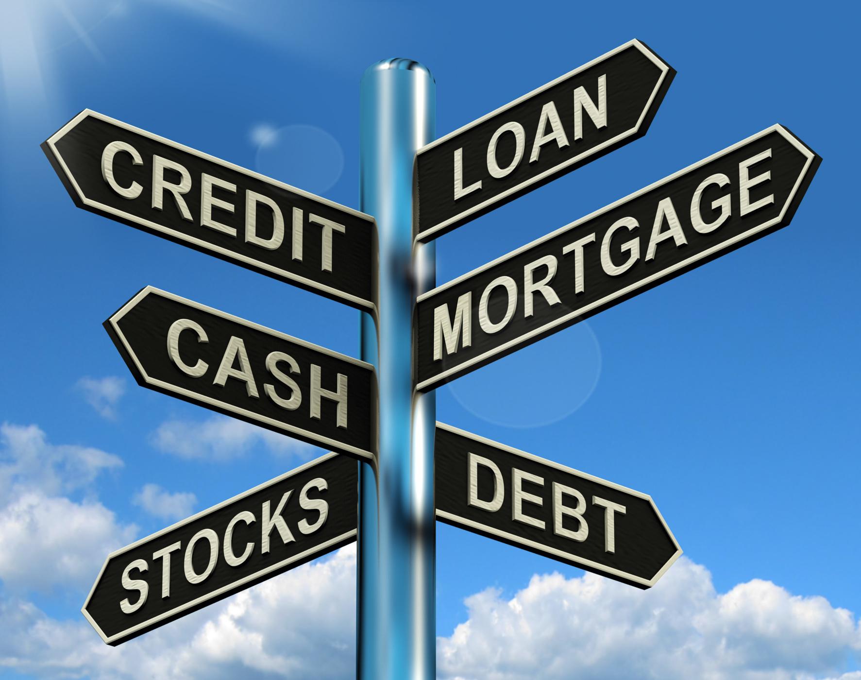 Credit Loan Mortgage Signpost Showing Borrowing Finance And Debt, Advance, Application, Borrow, Borrowing, HQ Photo