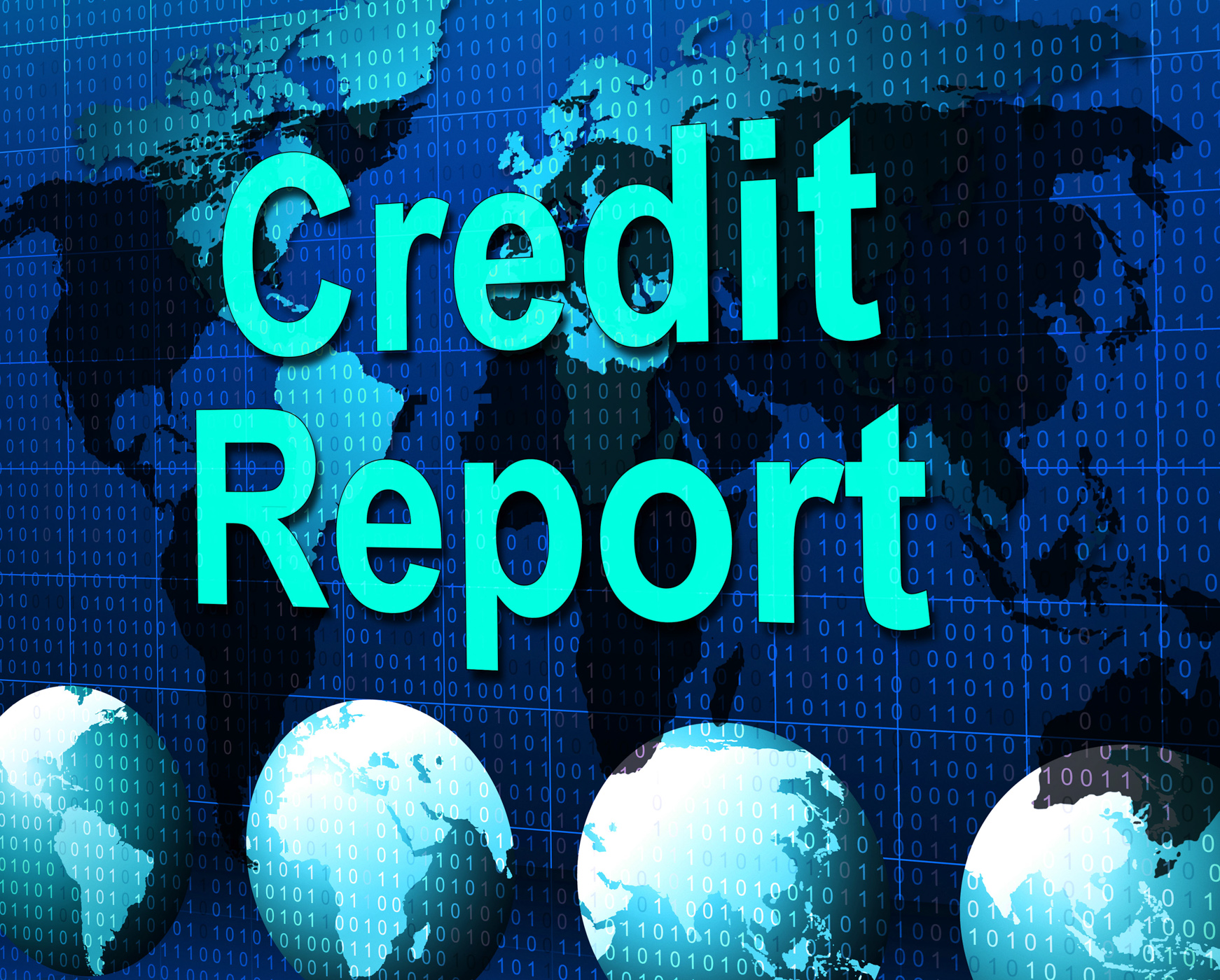 Credit report represents debit card and analysis photo