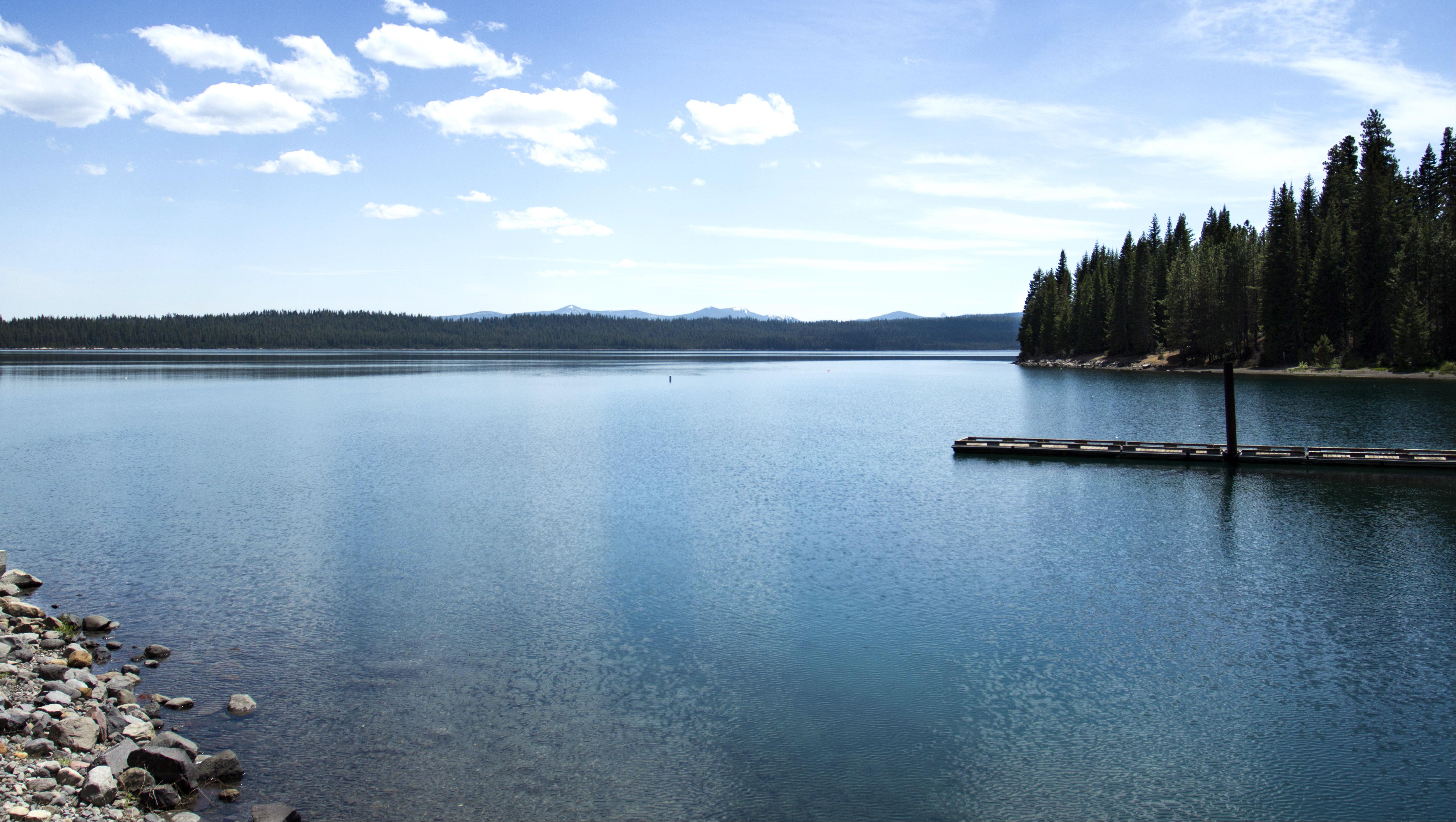 Crescent Lake, Oregon, Bay, Blue, Boat, Calm, HQ Photo