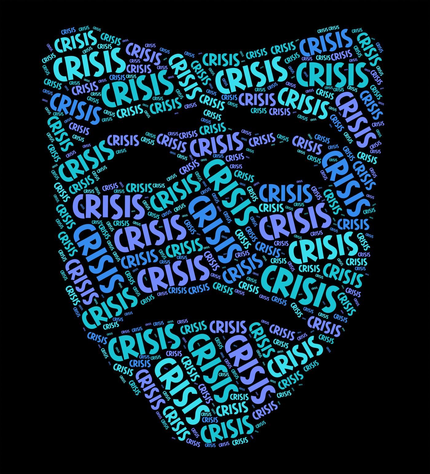 Crisis word indicates dire straits and calamity photo