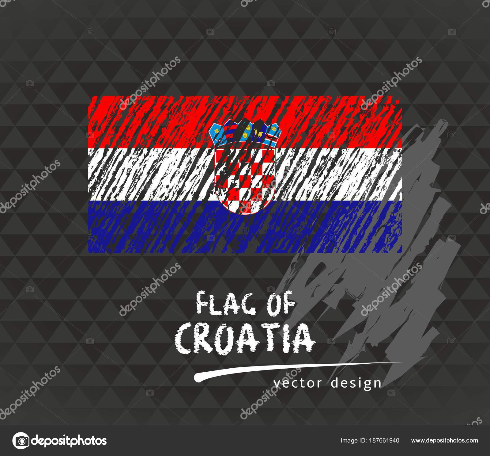 Croatia Flag Vector Sketch Hand Drawn Illustration Dark Grunge ...