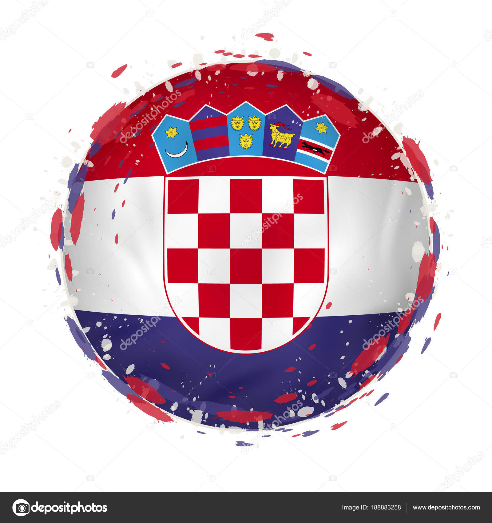 Round grunge flag of Croatia with splashes in flag color. — Stock ...