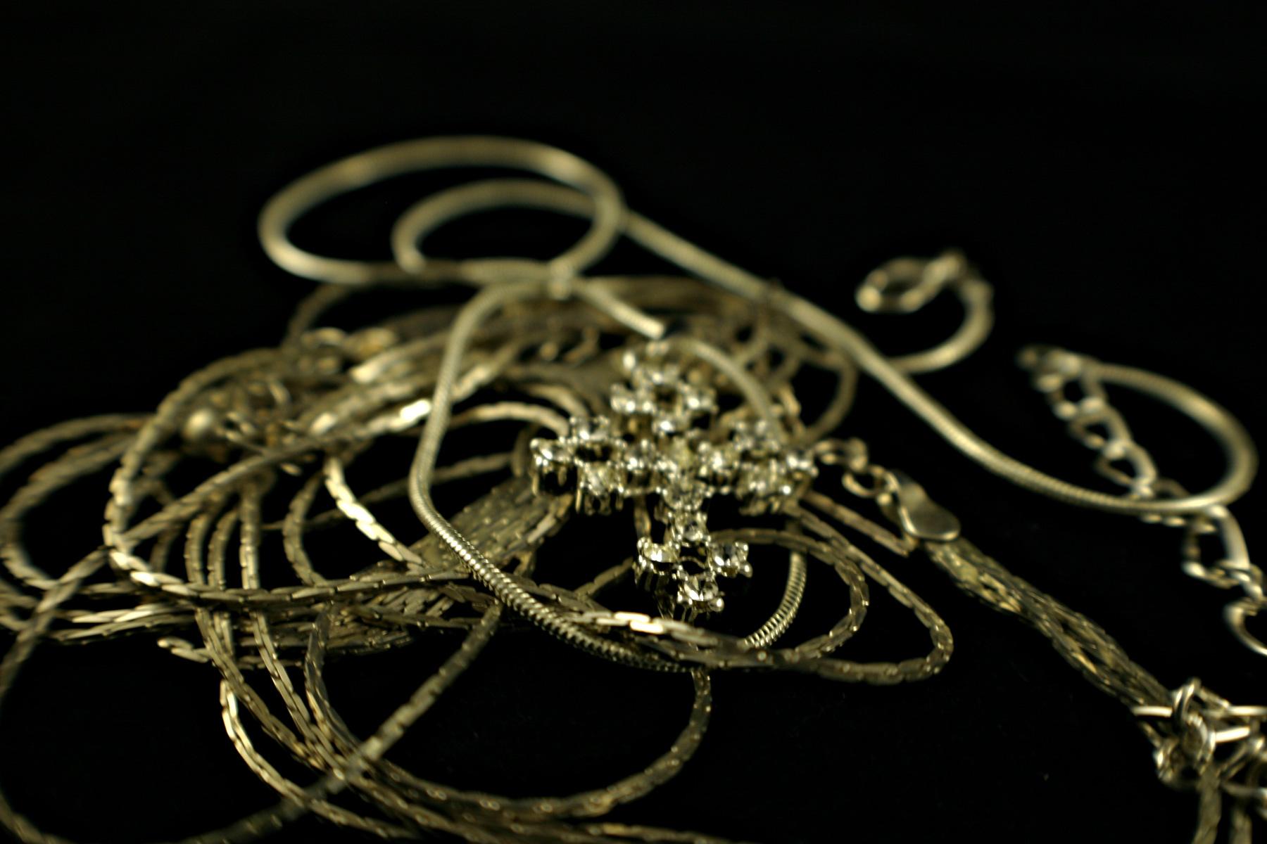 Cross lying on chains photo