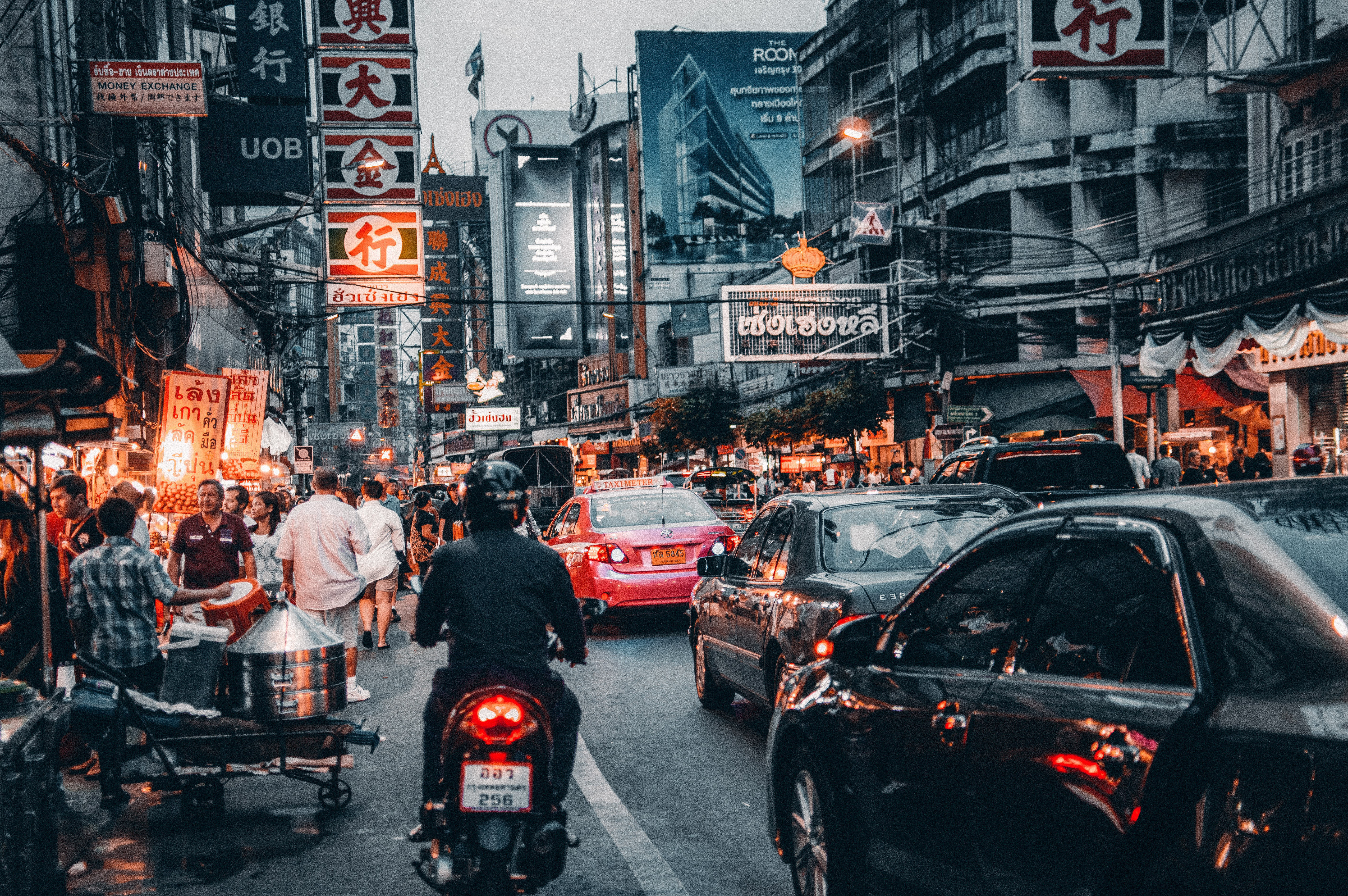 Crowded Street With Cars Passing By, Bangkok, Shopping, Vehicles, Urban, HQ Photo
