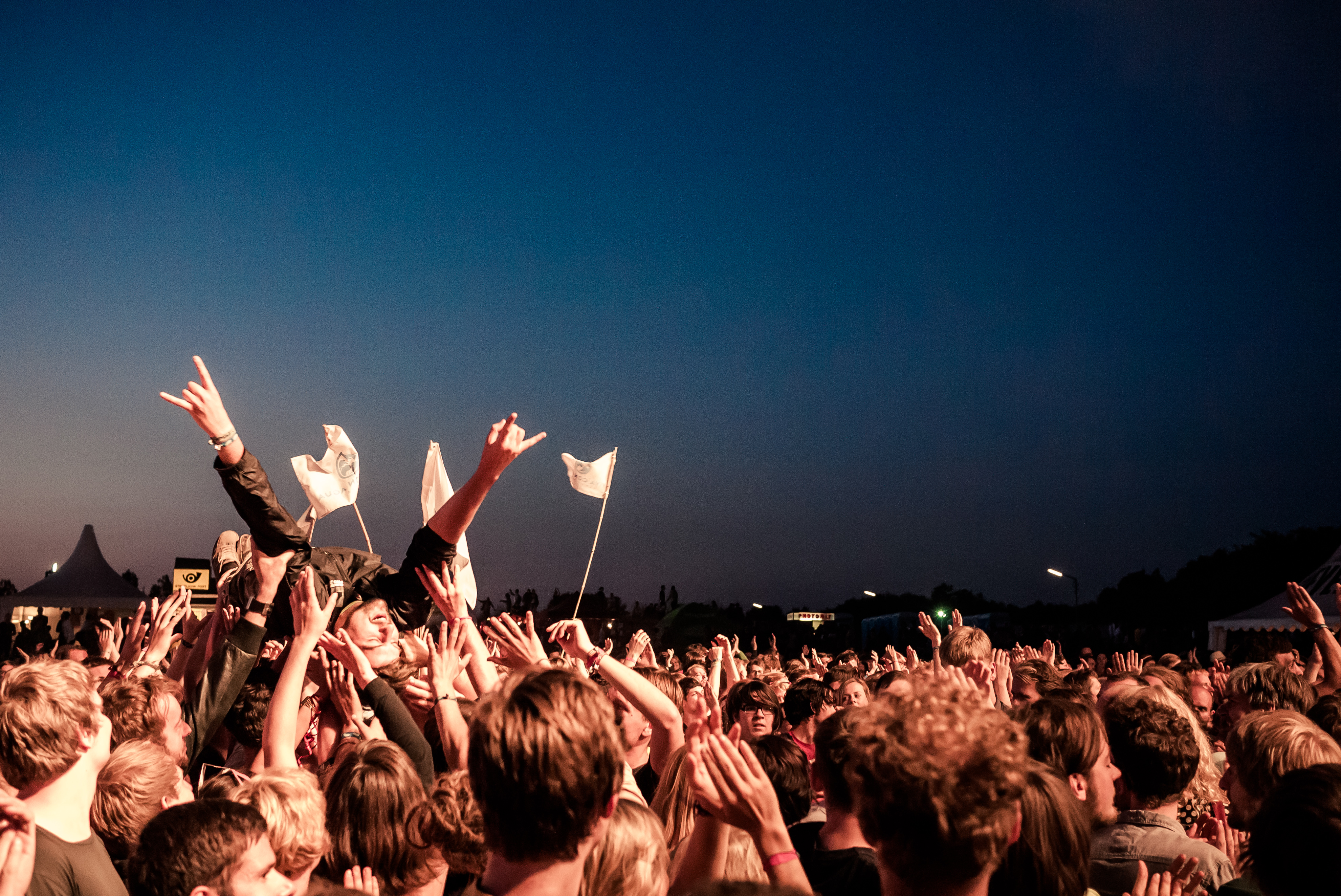 Crowdsurfing at the Tocotronic show, 2012, Crowd, Festival, Hamburg, HQ Photo