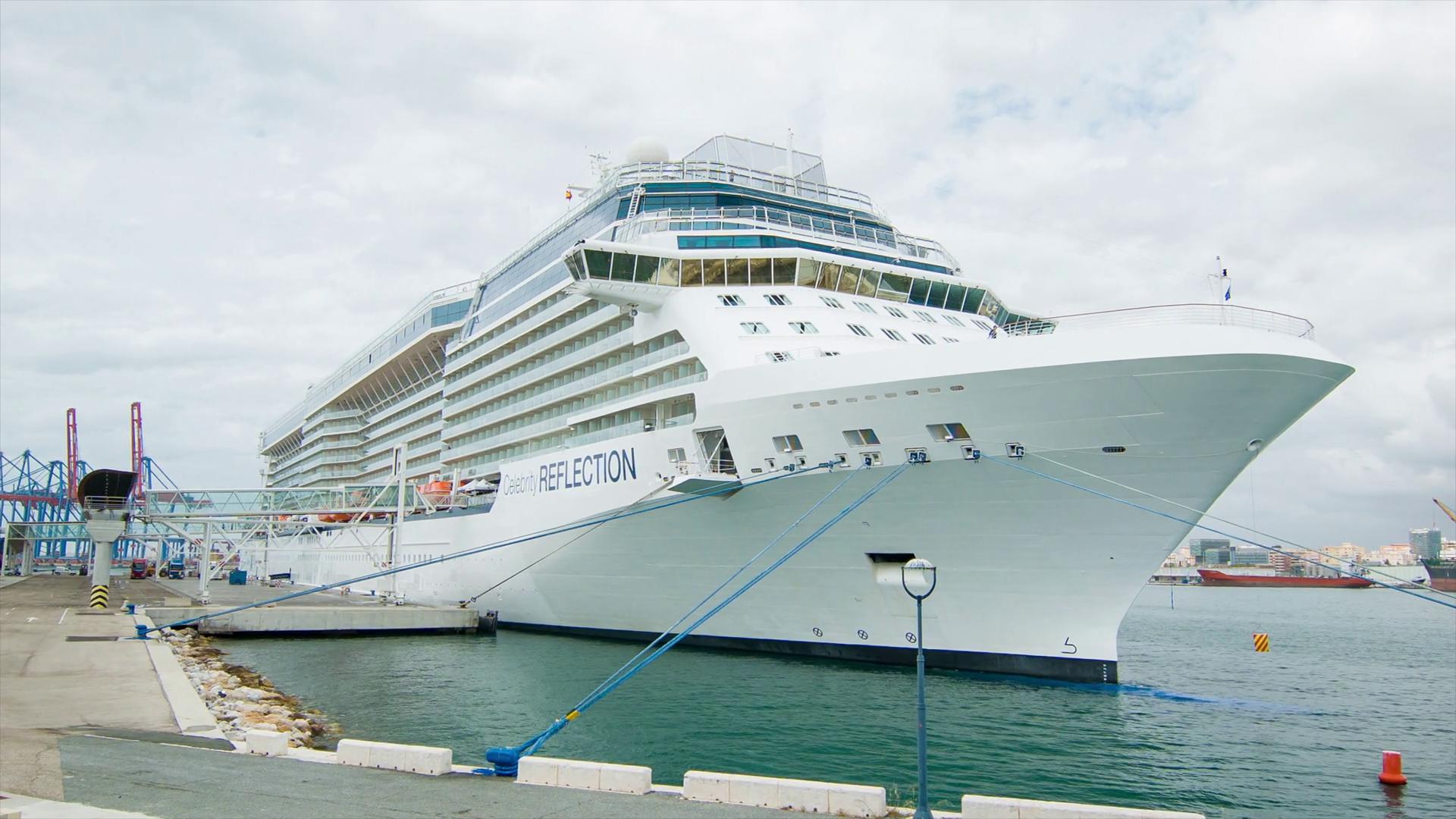 Celebrity Reflection Cruise Ship Docked in Malaga Spain Alongside ...
