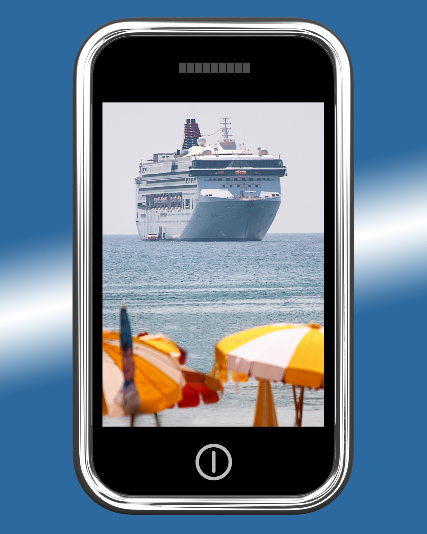 Cruise ship travel picture on mobile phone photo