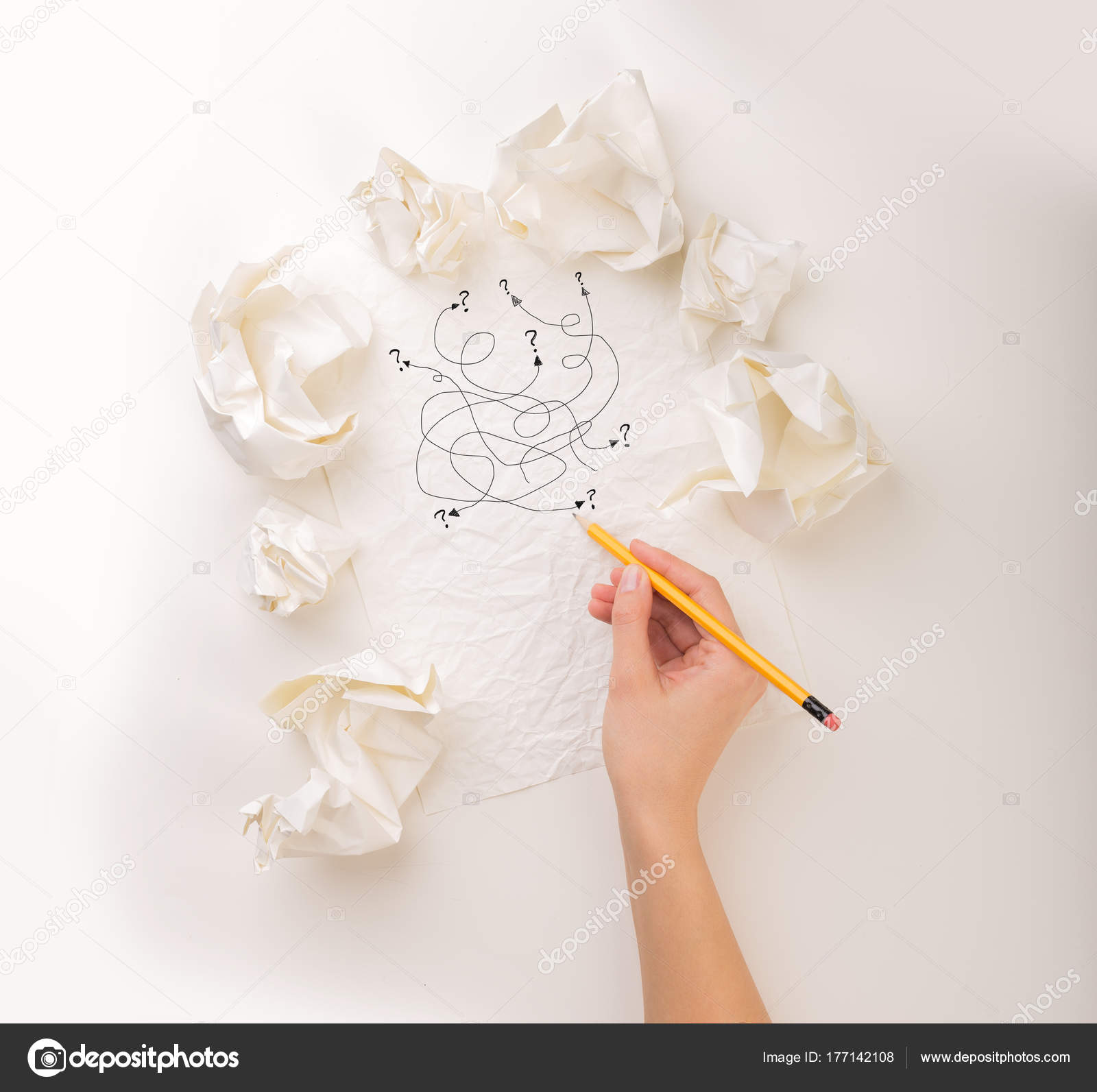 Writing hand in crumpled paper — Stock Photo © ra2studio #177142108