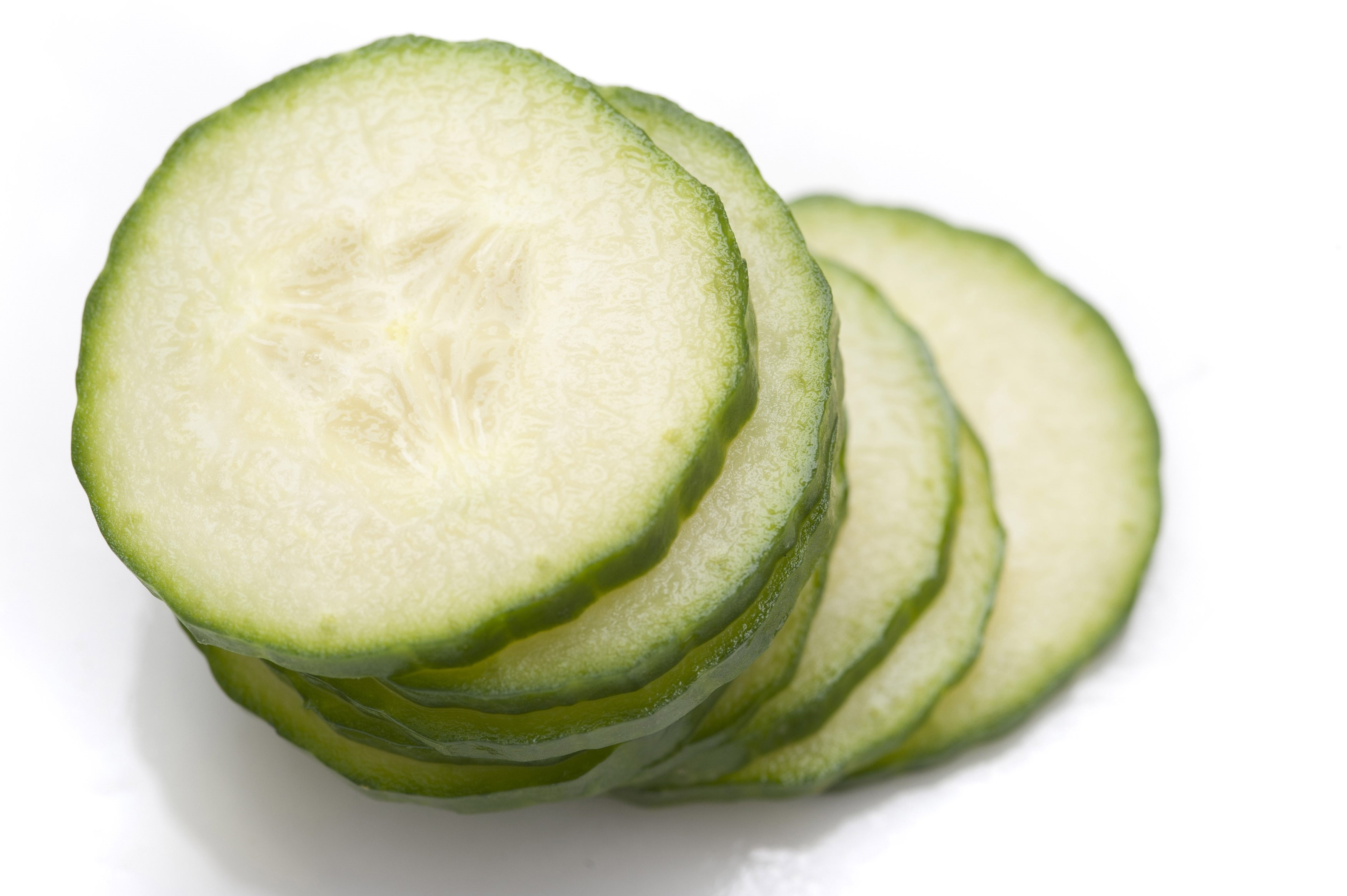 Stack of thin cucumber slices - Free Stock Image