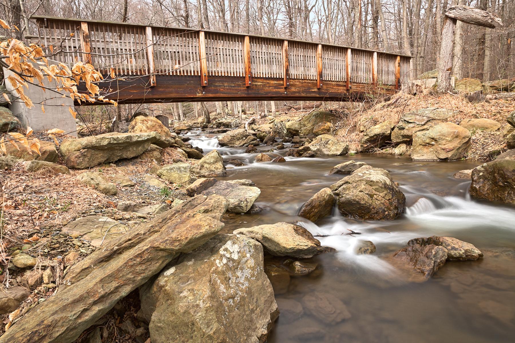 Cunningham forest bridge & stream - hdr photo