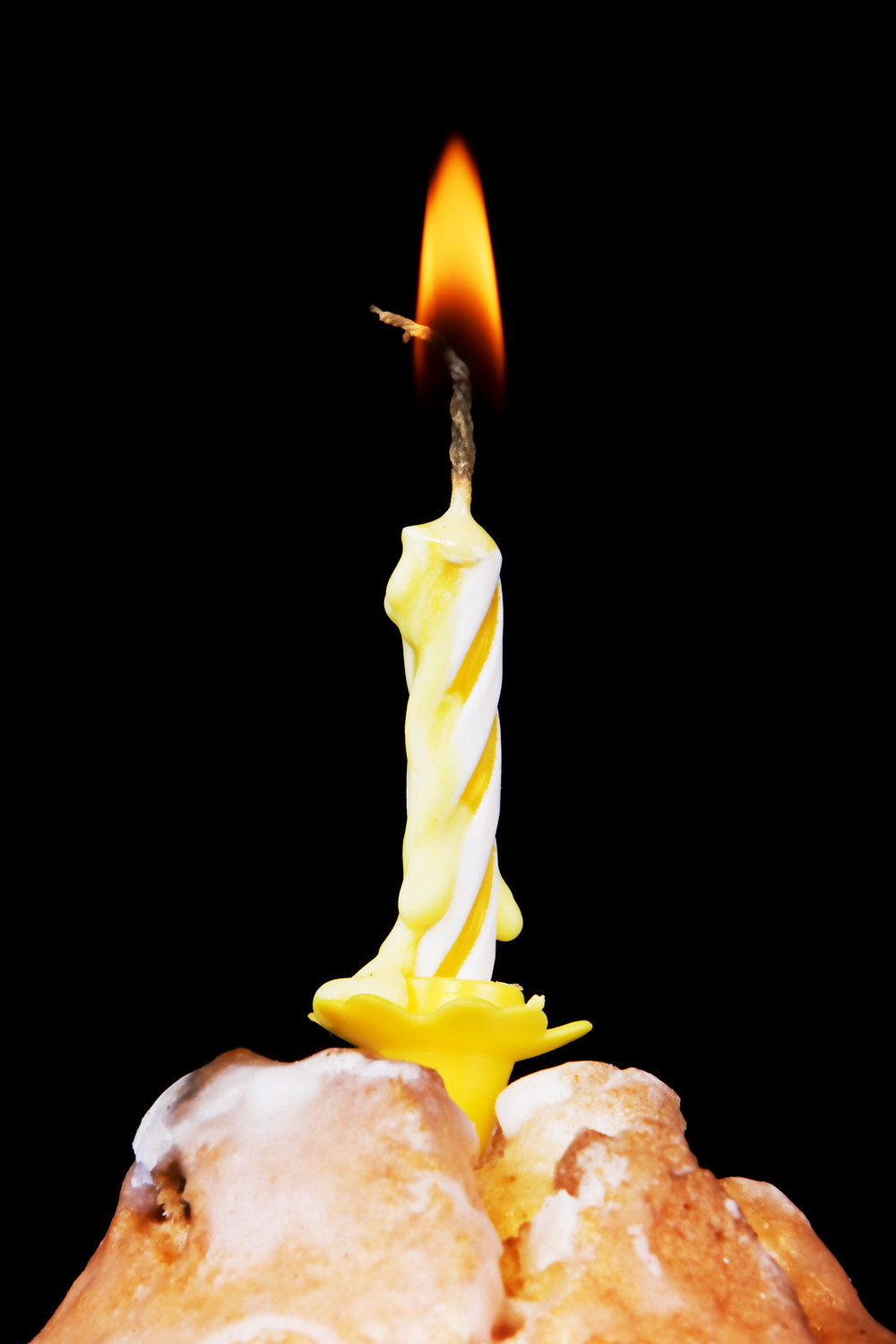 Cupcake with burning candle, Decorating, Treat, Sweet, Snack, HQ Photo