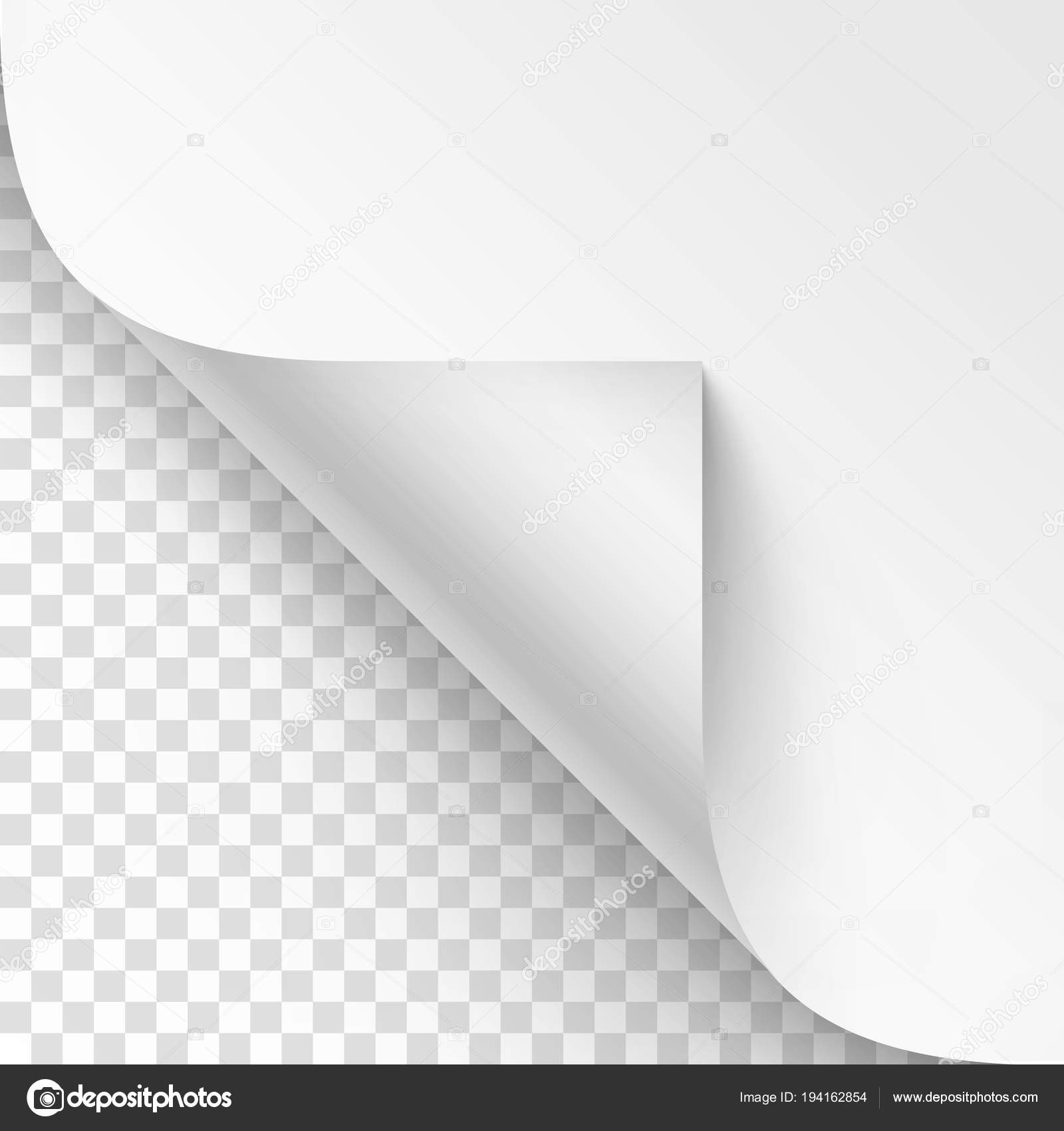 Vector Curled corner of White paper with shadow Mock up Close up ...