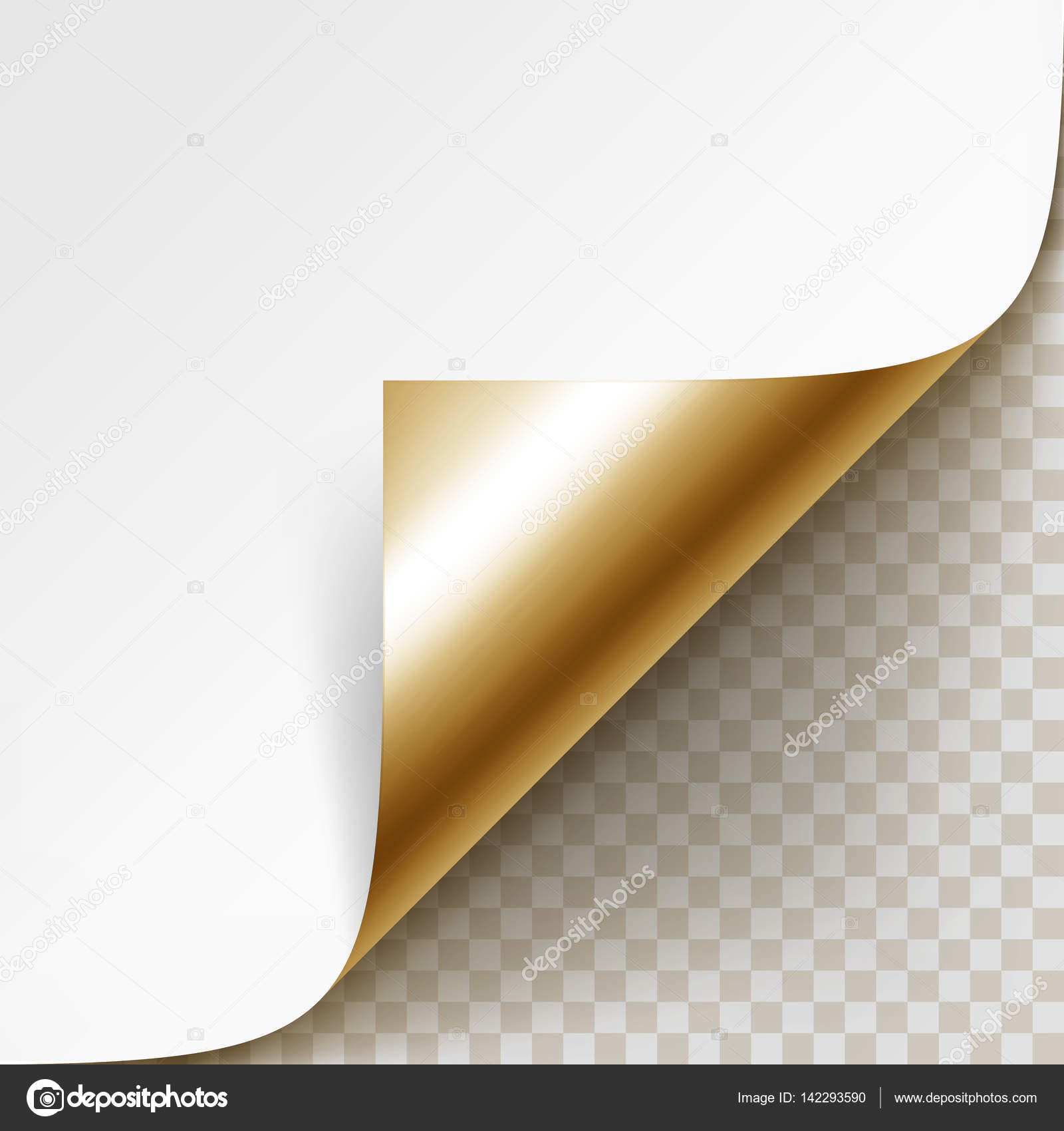 Vector Curled Golden Corner of White Paper with Shadow Mock up Close ...