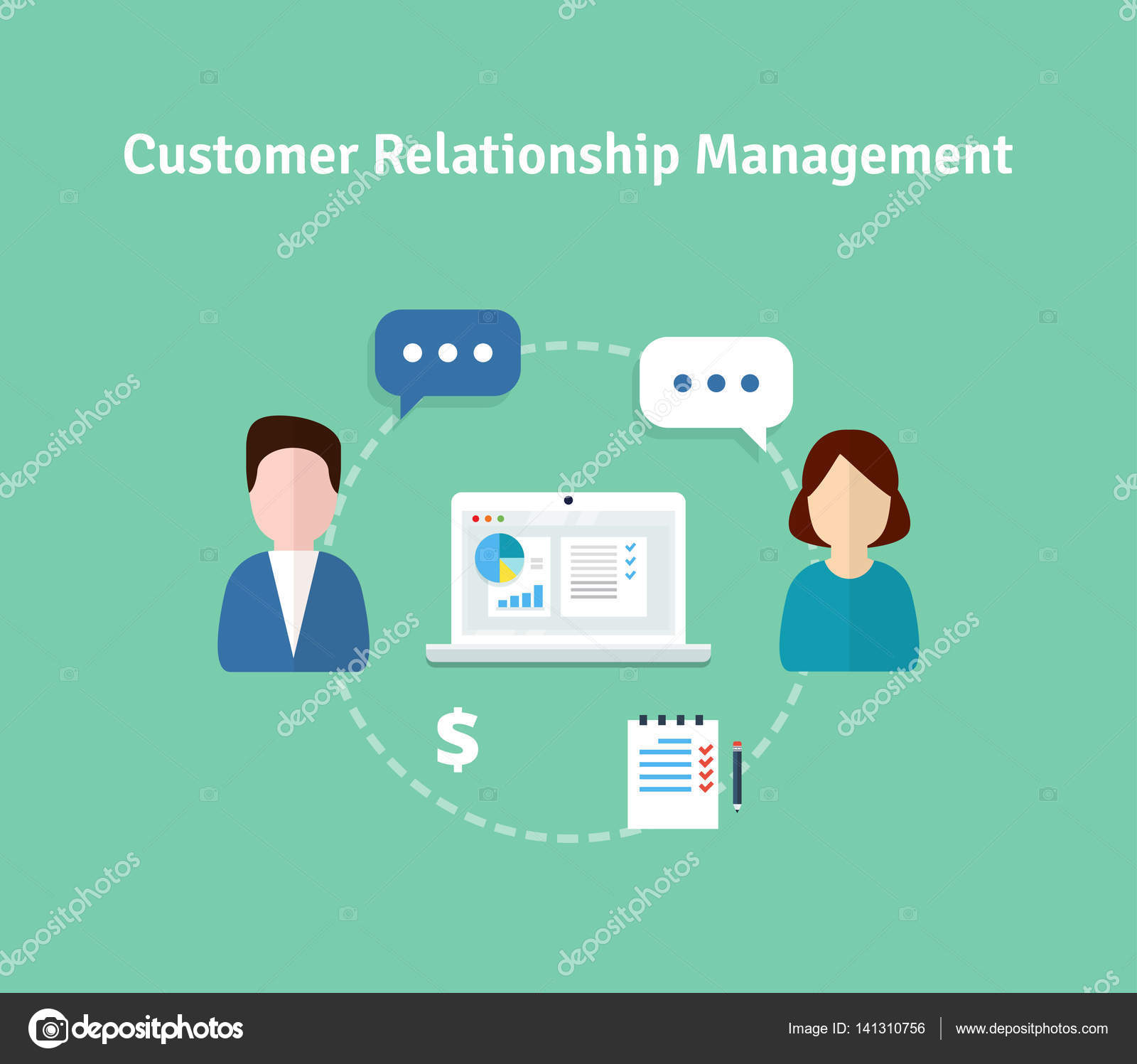 Customer Relationship Management vector illustration. Flat icons of ...