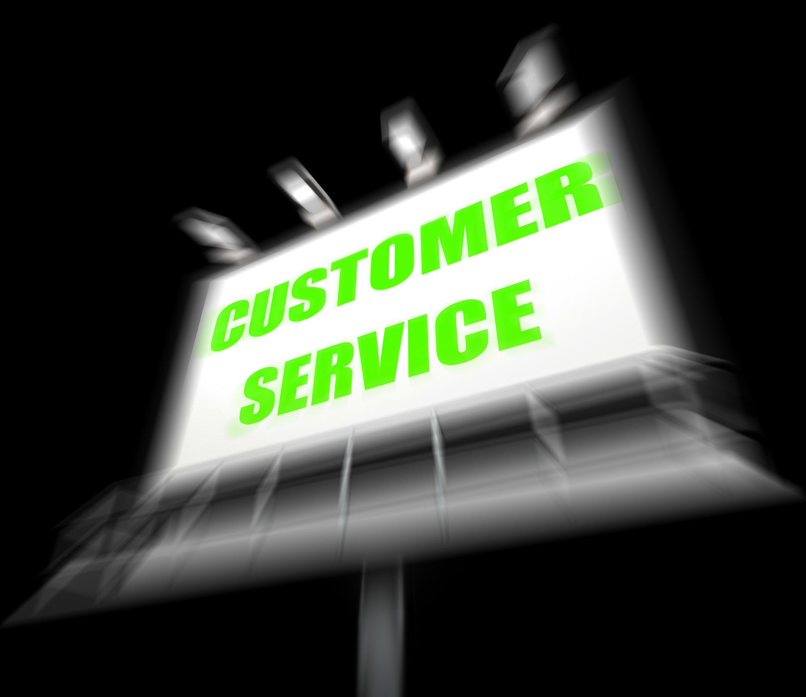 Customer service media sign displays consumer assistance and serving photo