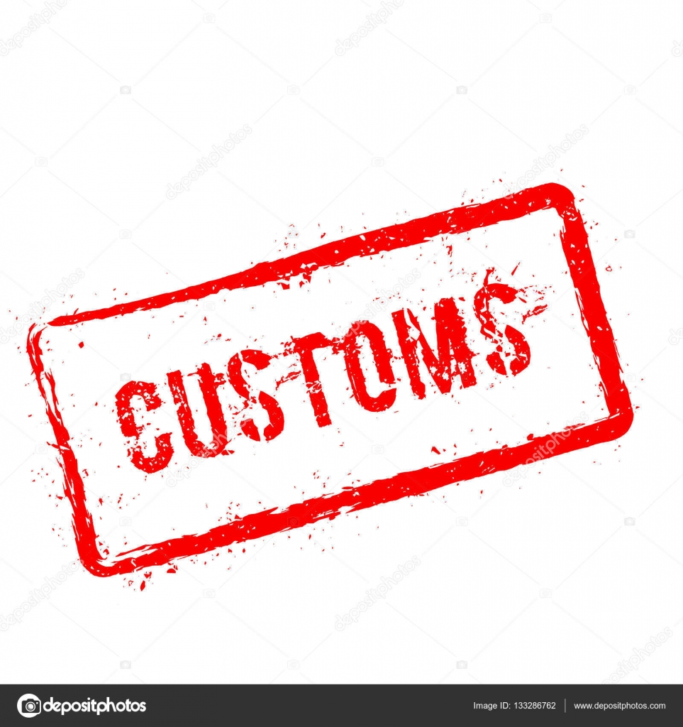 Customs red rubber stamp isolated on white background. — Stock ...