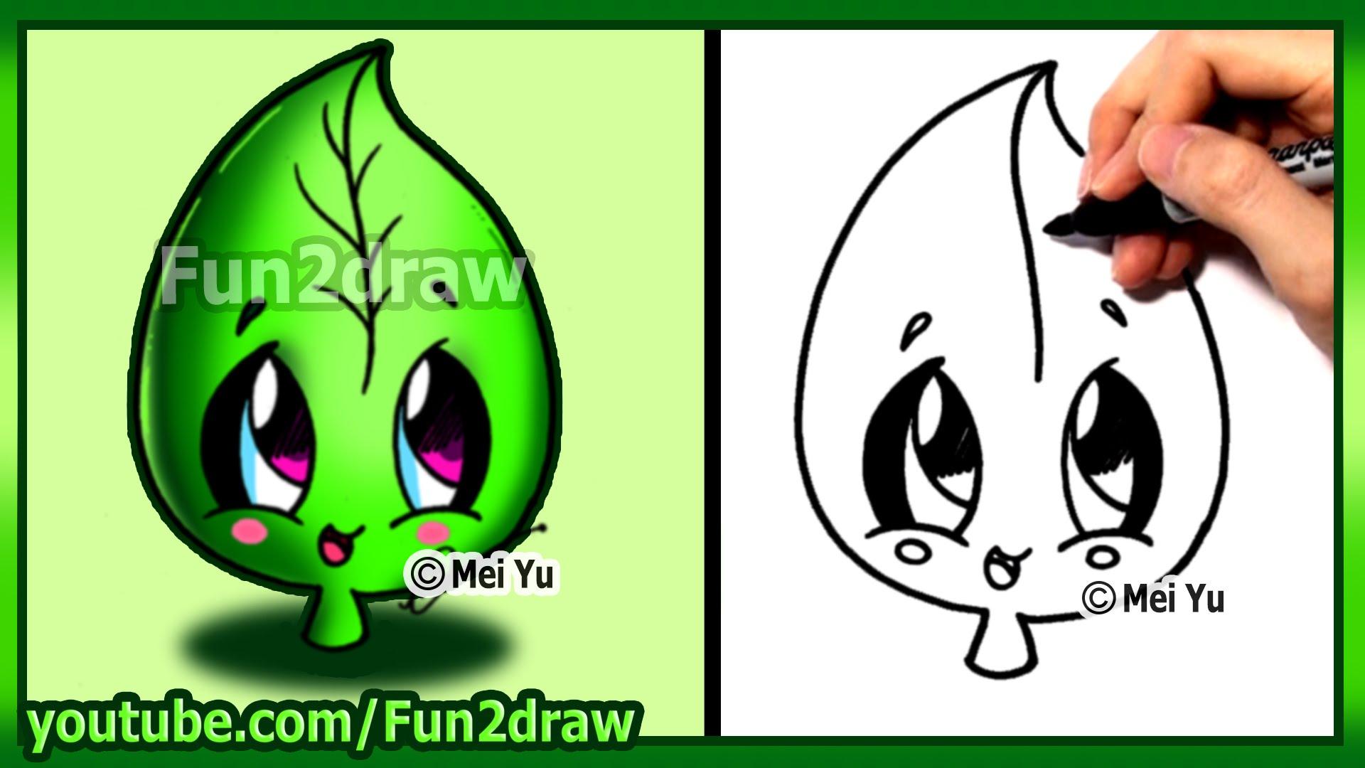 How to Draw Cute Easy - Leaf Earth Day - Fun2draw - YouTube