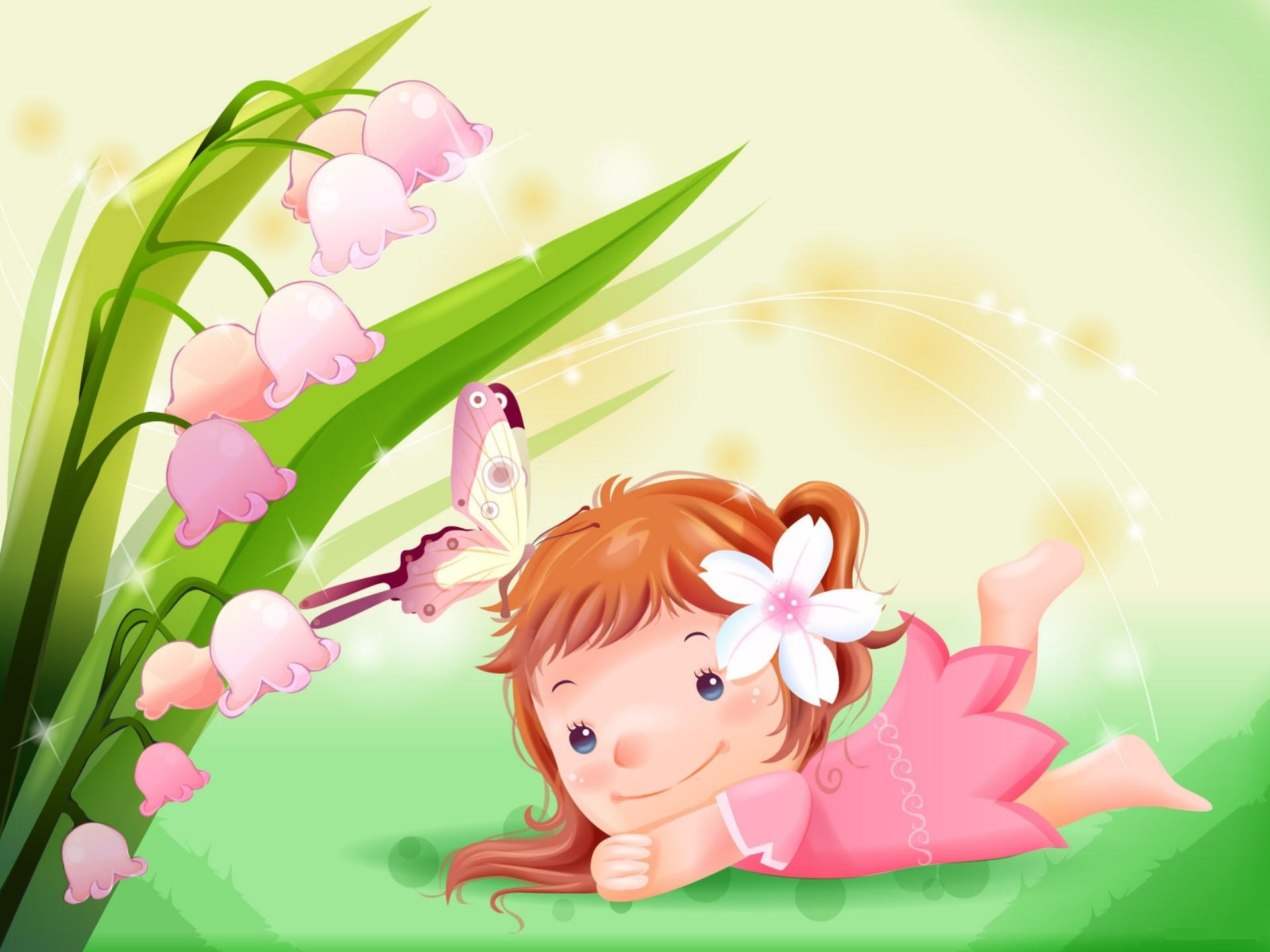 Wallpaper For Cute Little Girl With Butterfly Cartoon Give Them Full ...