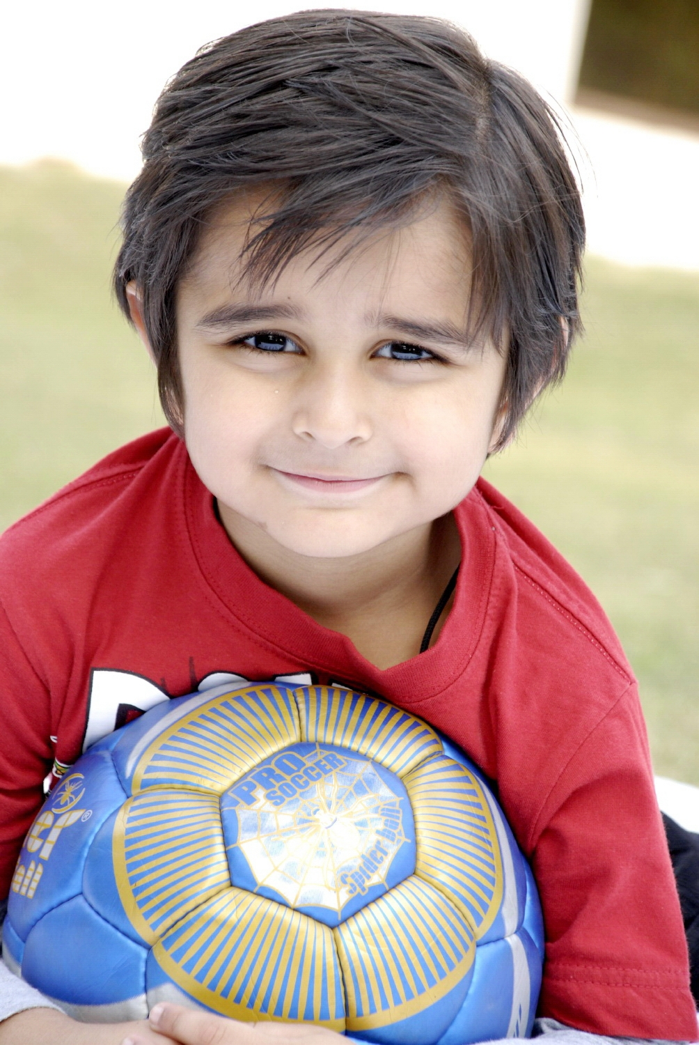 free photo: cute child with football - mouth, one, outdoors - free