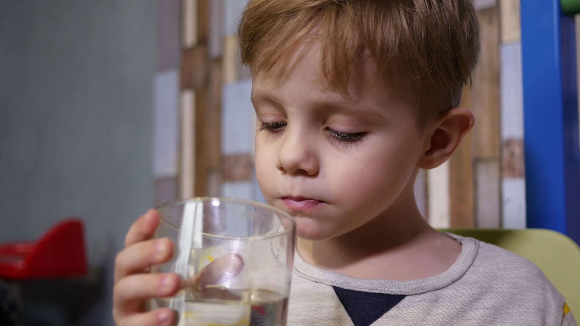 Little Cute Kid Boy Drink Clear Pure Water From A Glass Cup Healthy ...